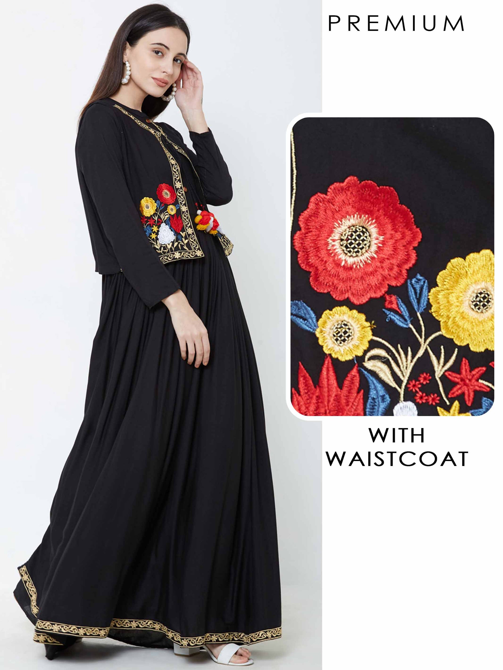 Solid Maxi with Vibrant Embroidered Waistcoat – Black