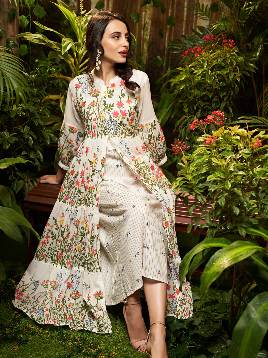 Minimal Striped A-Line Kurta with Vibrant Floral Printed Jacket – Off-White