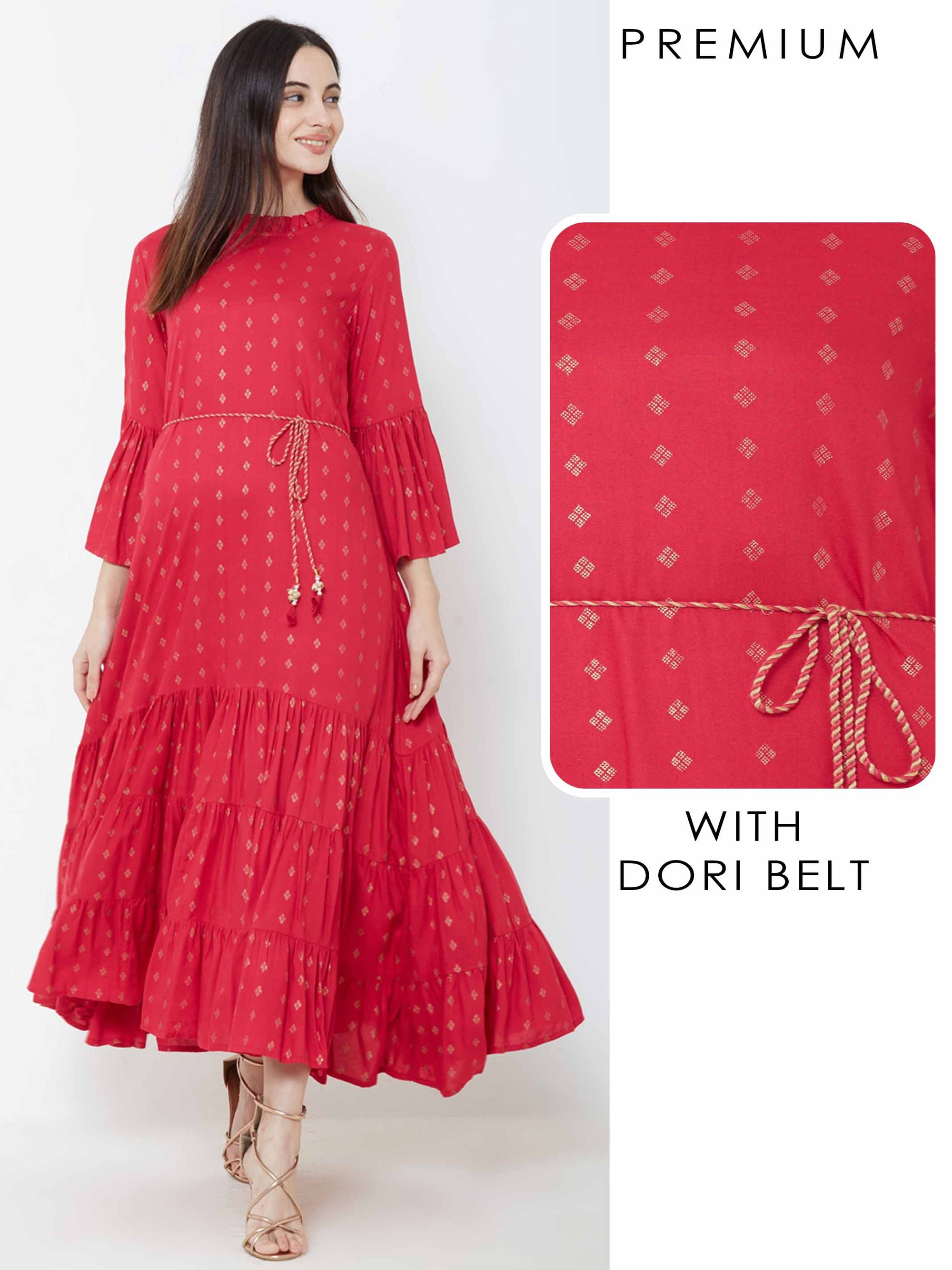 Minimal Foil Printed Tiered Maxi with Dori Belt – Red
