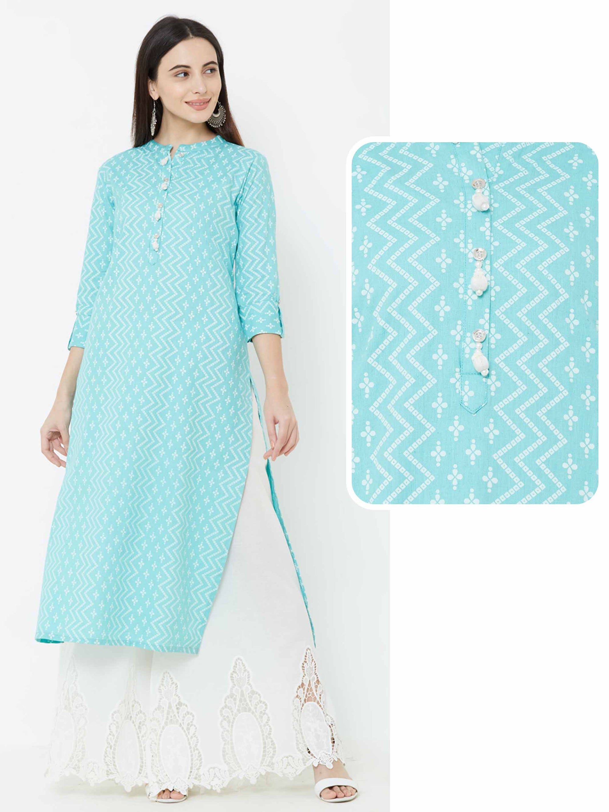 Mixed Printed Tassel Kurta – Aqua Blue
