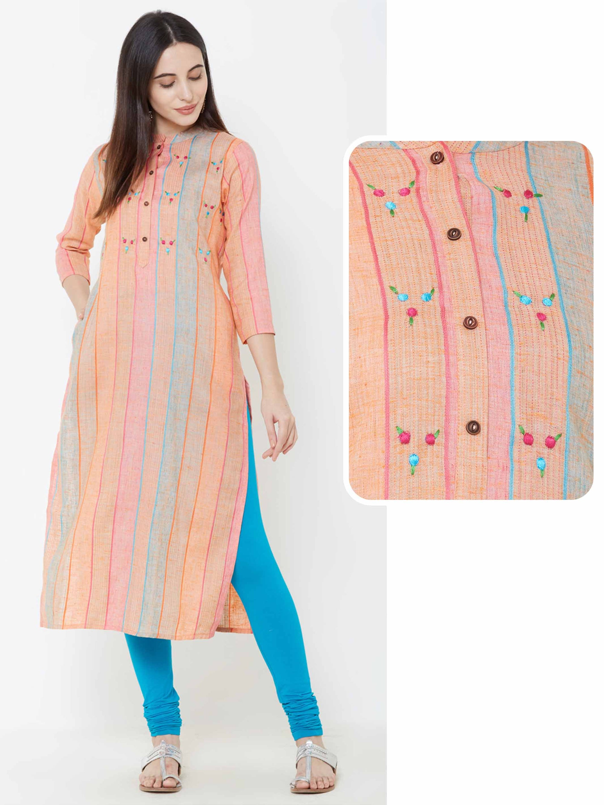 Minimal Embroidered & Multi Striped Kurta – Orange