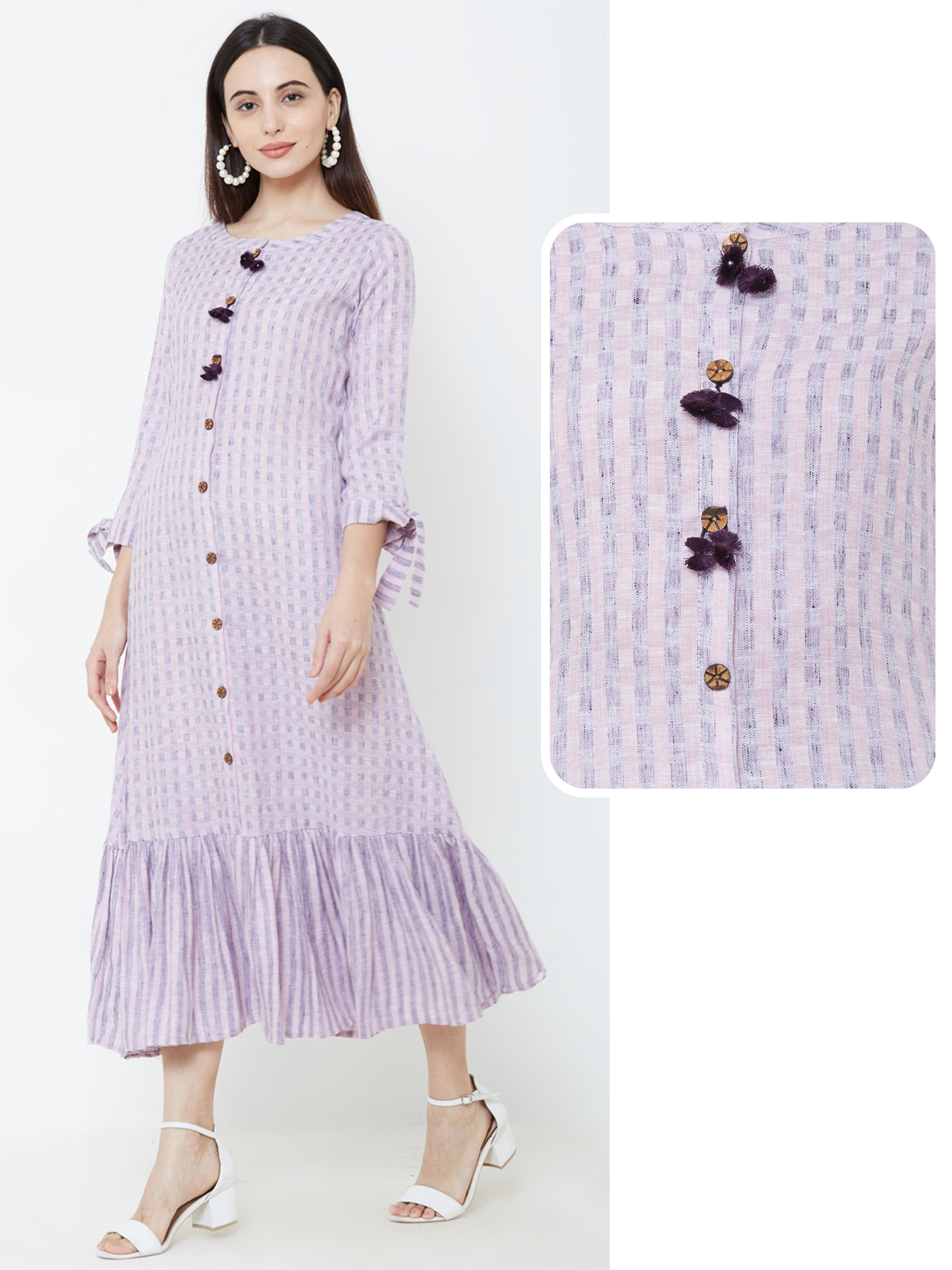 Abstract Checkered Tassel Maxi – Lavender