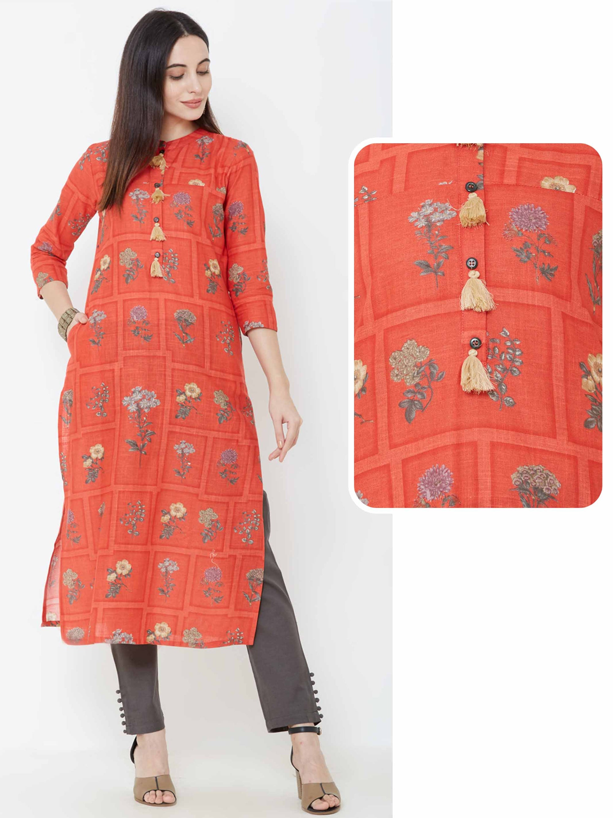 Floral & Checks Printed Tassel Kurta – Rusty Peach