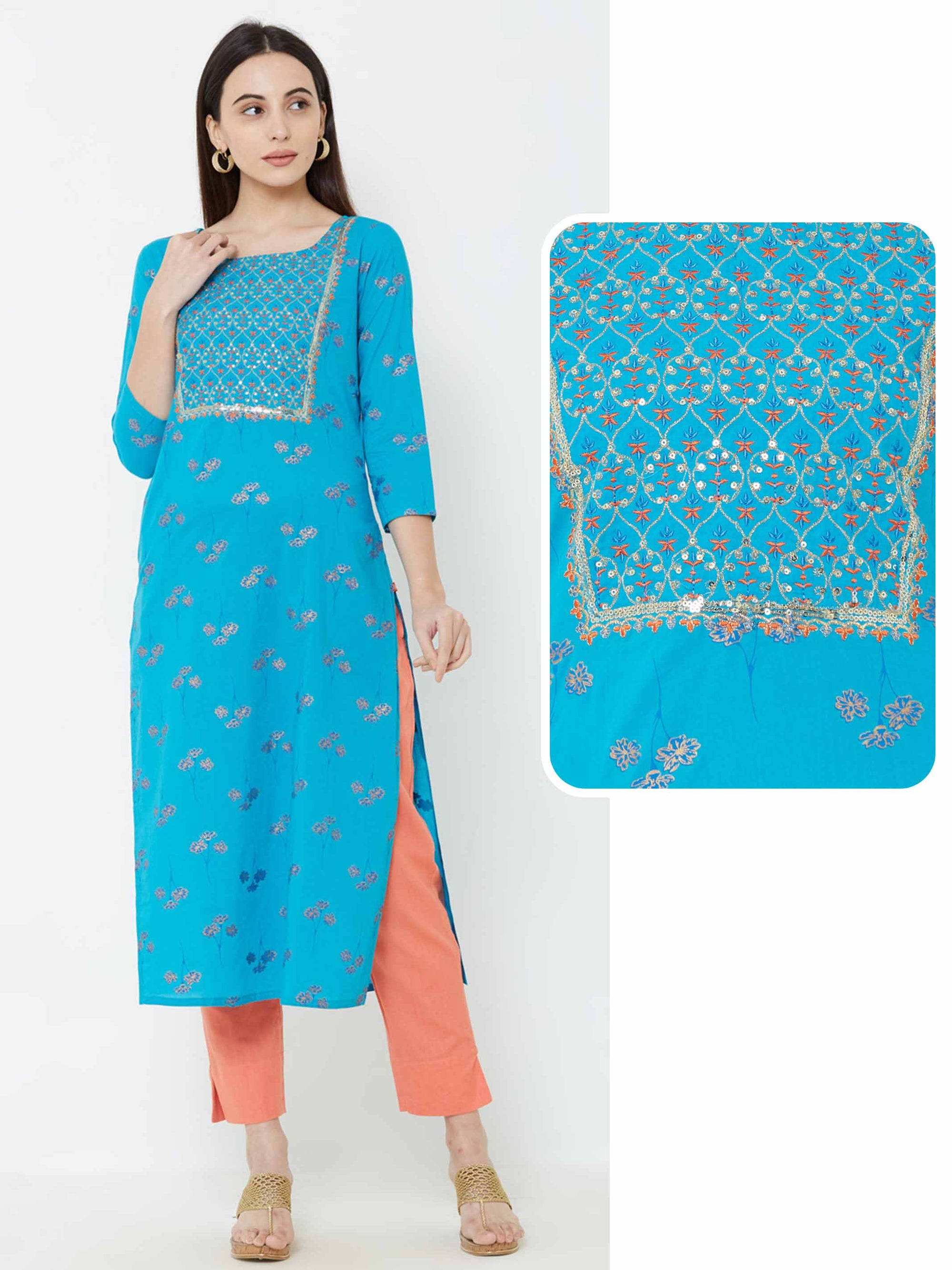 Foil Floral Printed & Zari Embroidered Kurta – Royal Blue