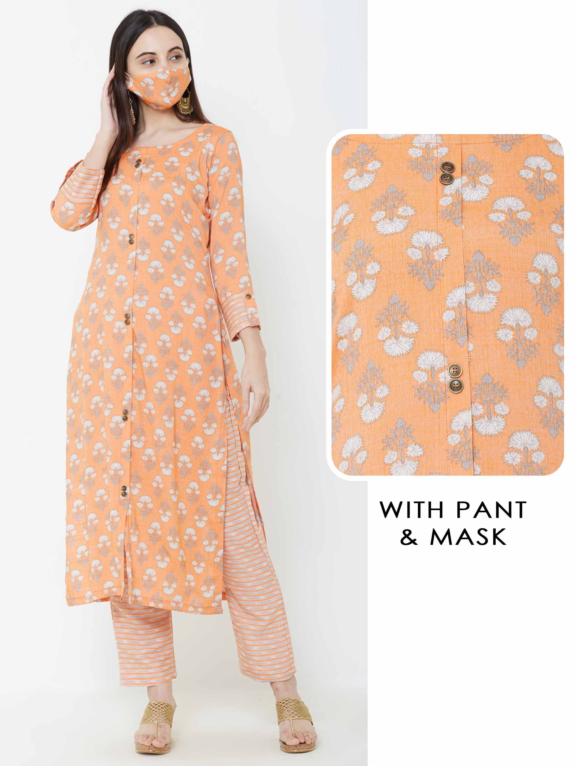 Floral printed Kurta & Horizontal striped Pant with Matching mask – Orange