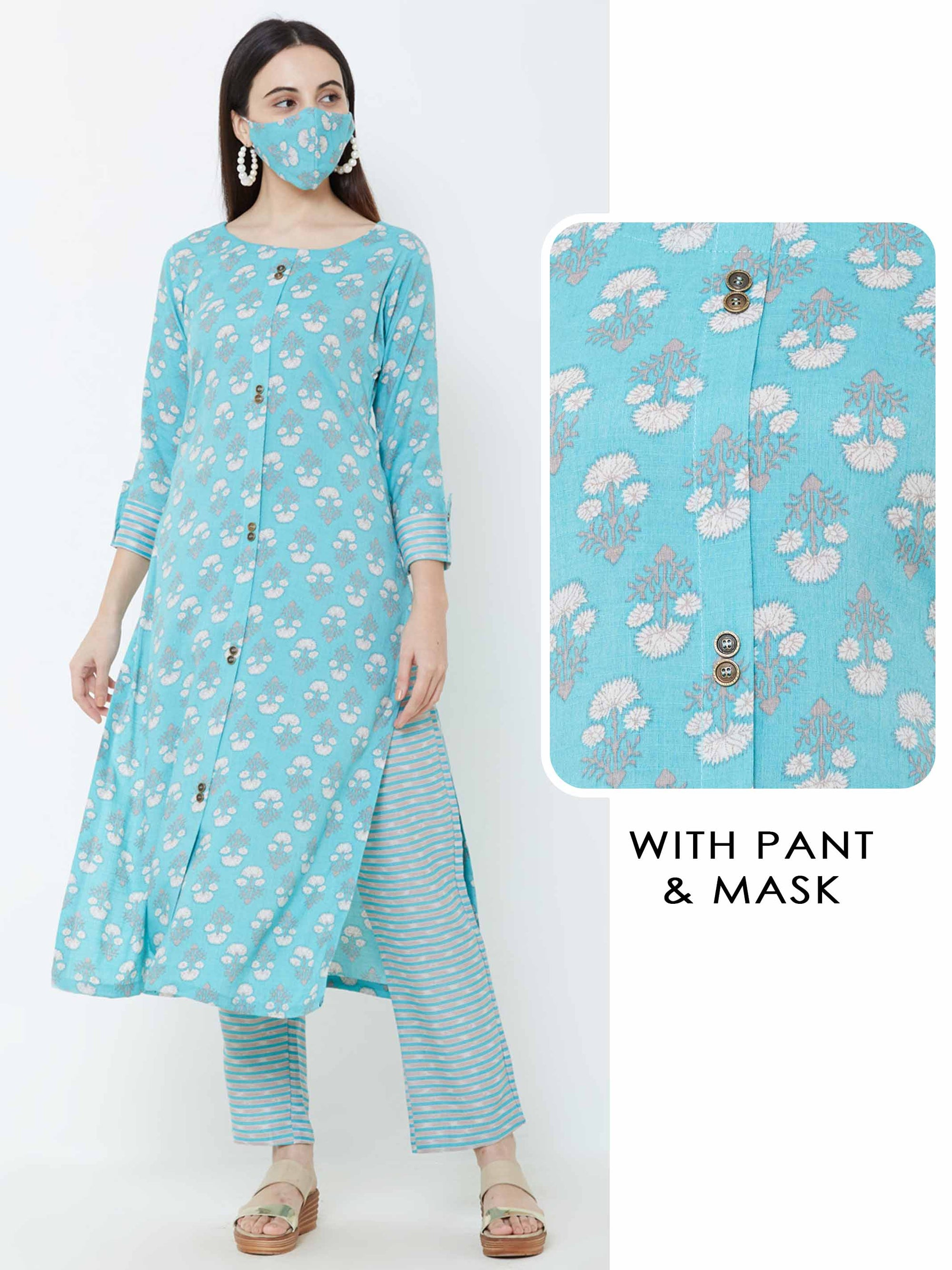 Floral printed Kurta & Horizontal striped Pant with Matching mask – Aqua Blue