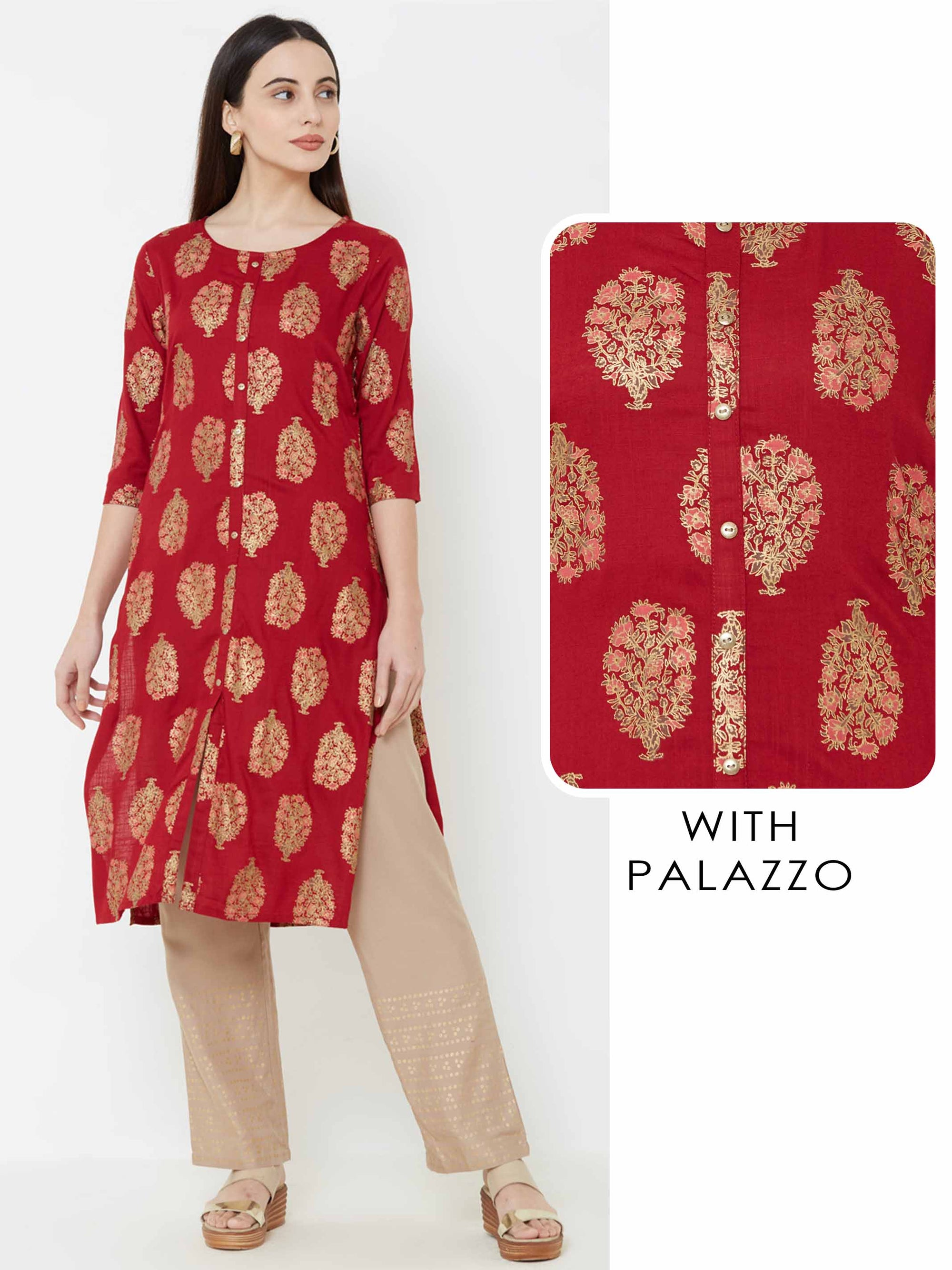 Foil Floral Printed Kurta with Solid Palazzo - Maroon