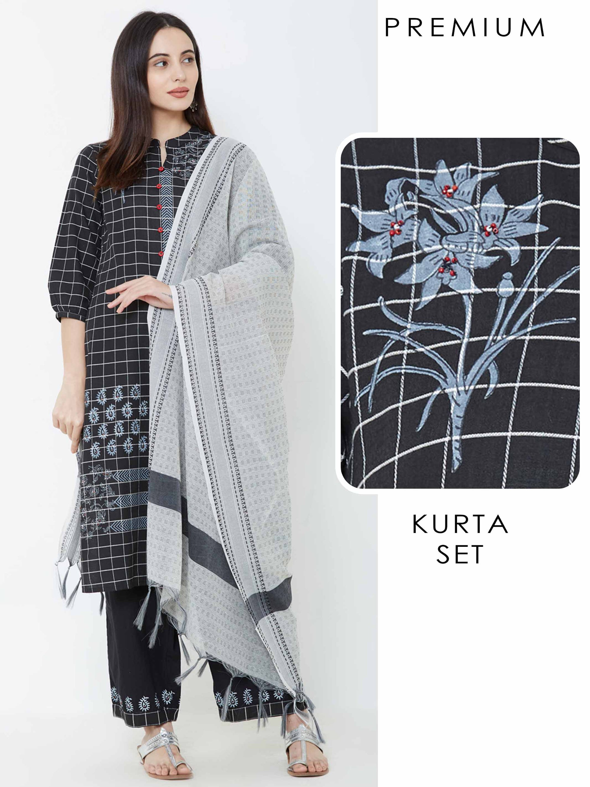Pin Checkered & Floral Printed Kurta with Printed Palazzo & Dupatta – Black