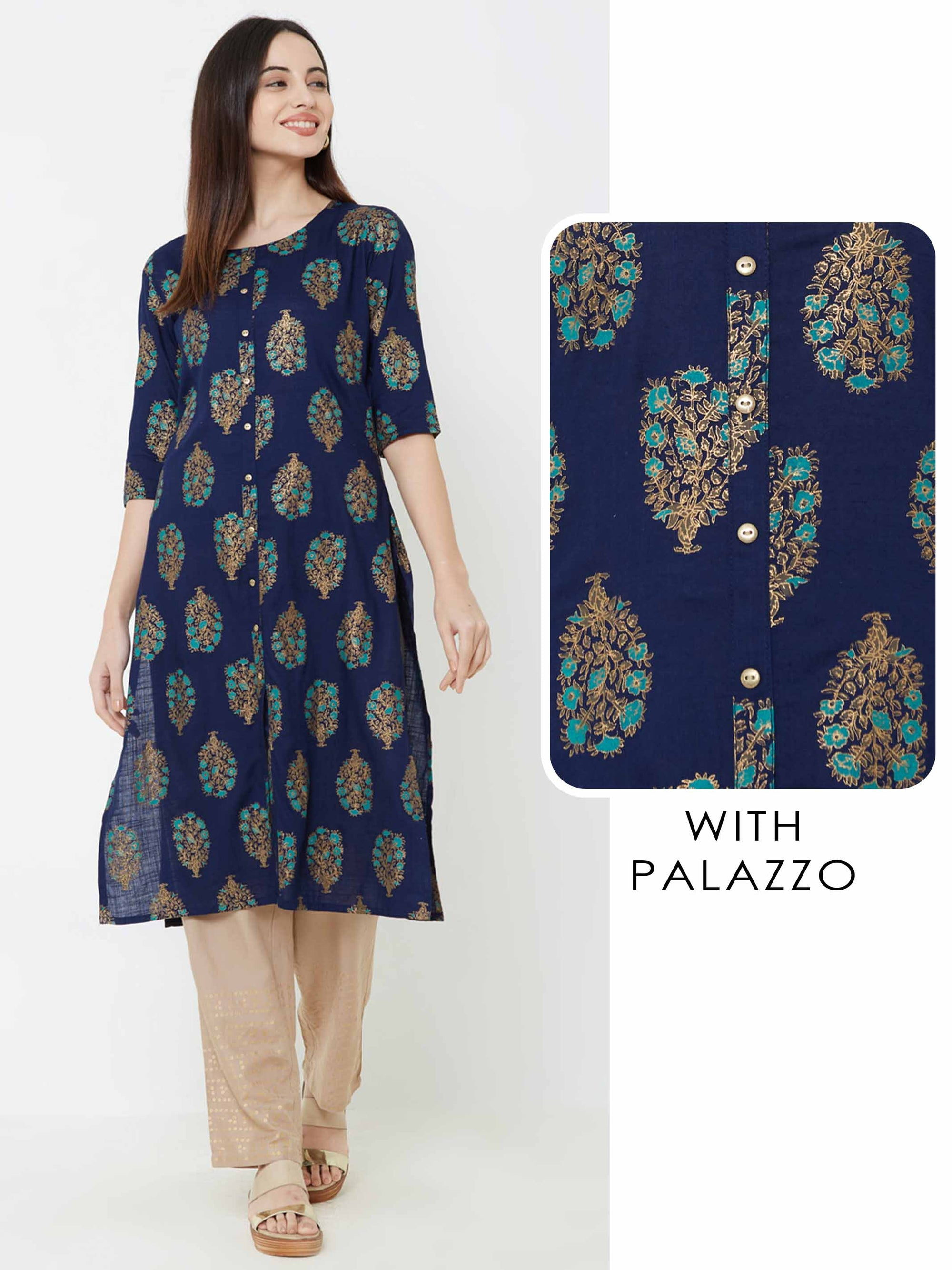 Foil Floral Printed Kurta with Solid Palazzo - Navy Blue