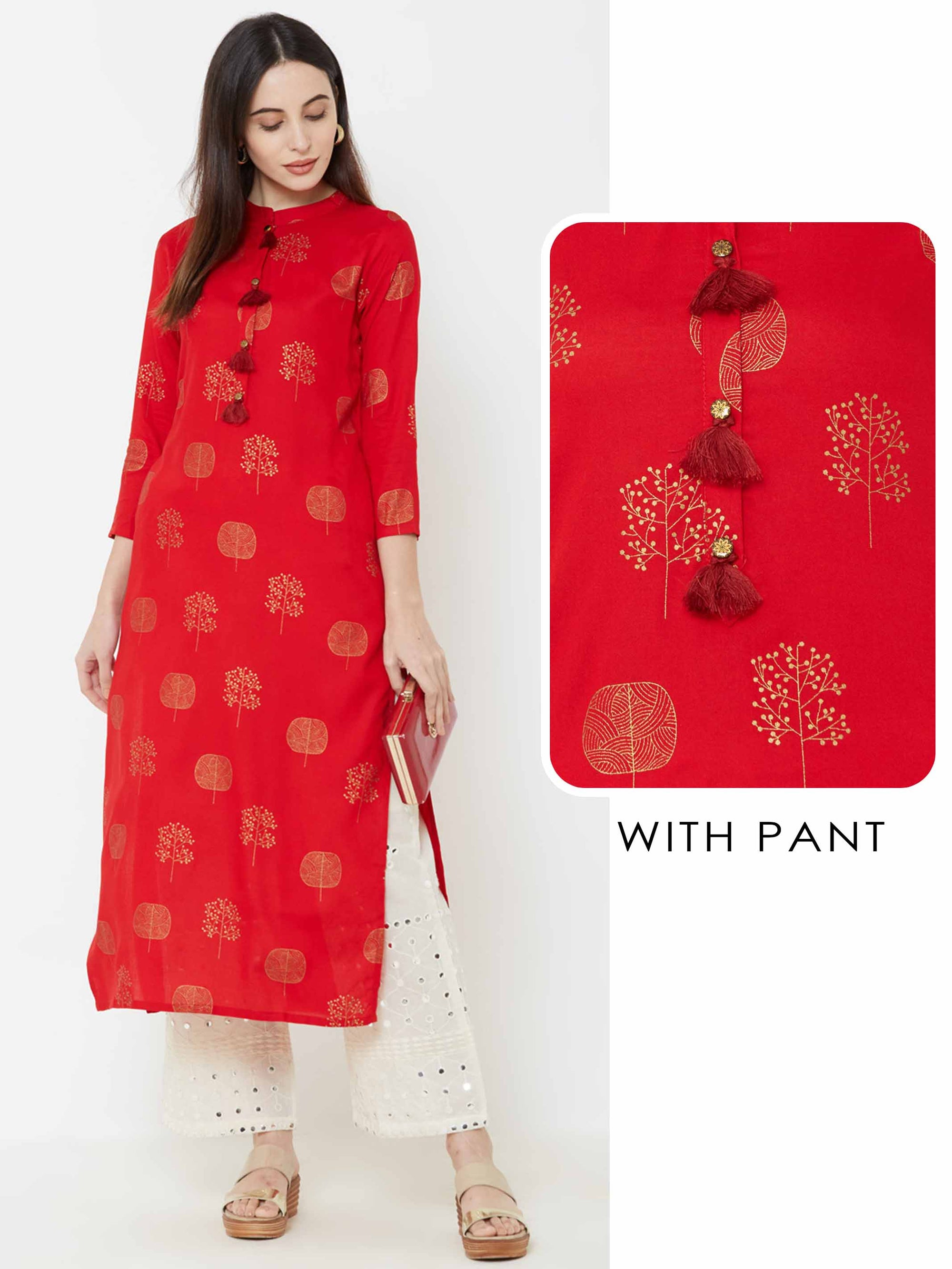 Abstract Foil Tree Printed Kurta with Schiffli Embroidered Pant – Red