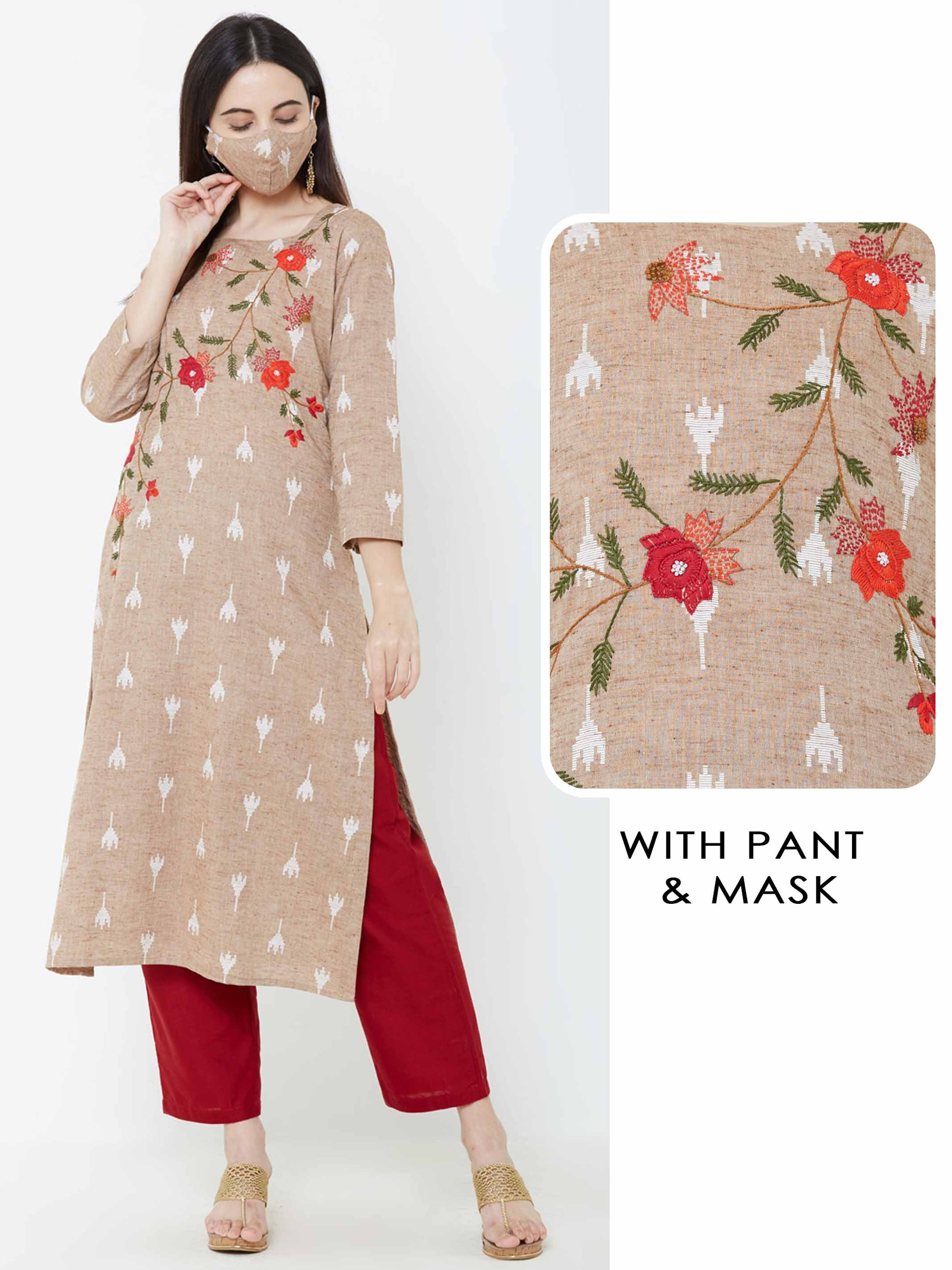 Abstract Ikkat, Floral Embroidered Kurta with Solid Pant & Matching mask – Beige