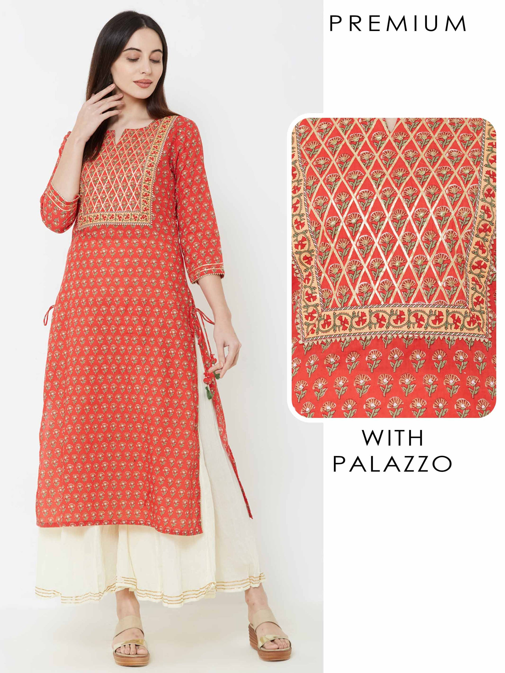 Intense Gota Embellished Floral Kurta with Crushed Palazzo – Red