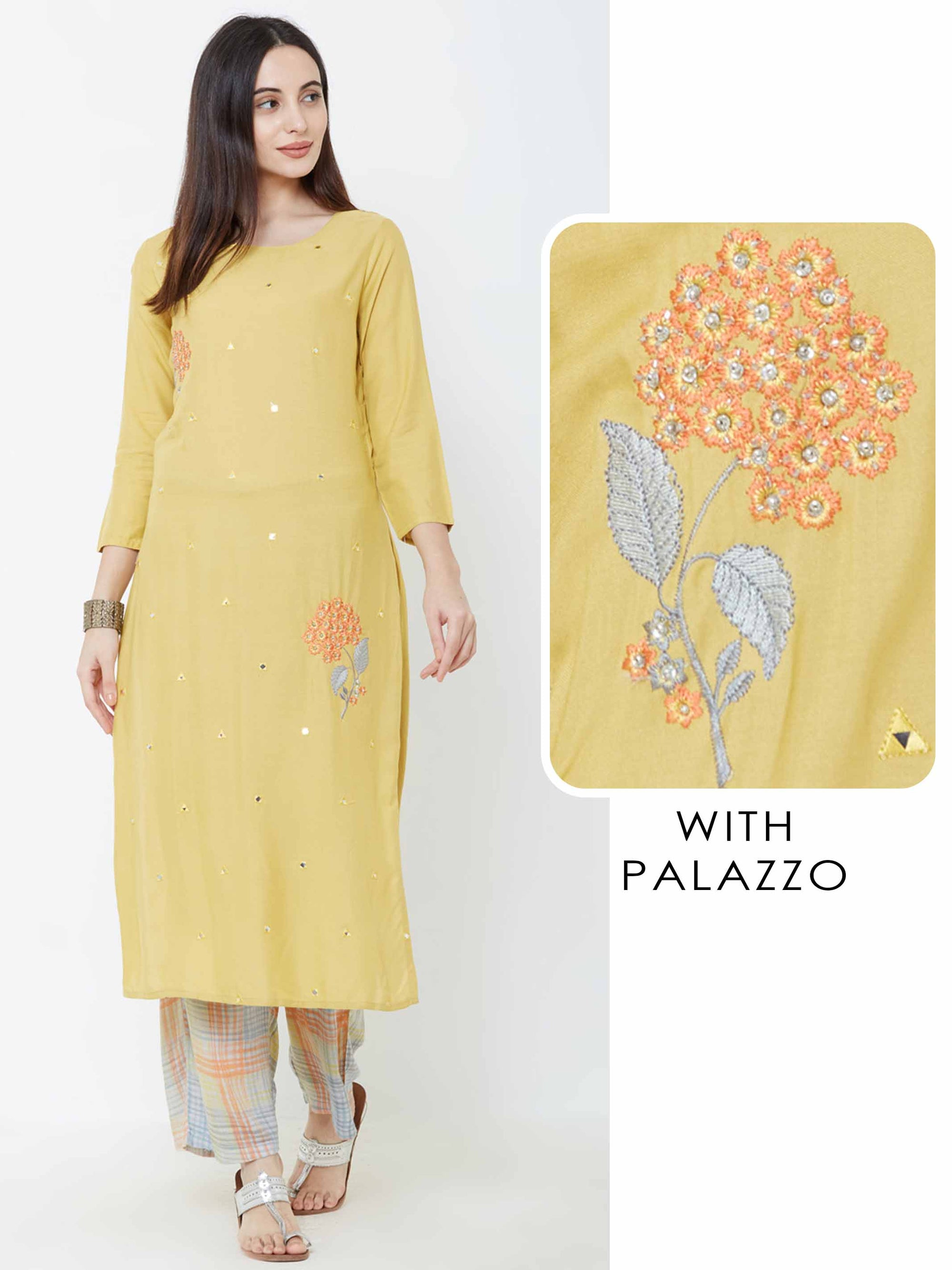 Floral & Mirror Embroidered Kurta with Pin Checkered Palazzo – Mustard