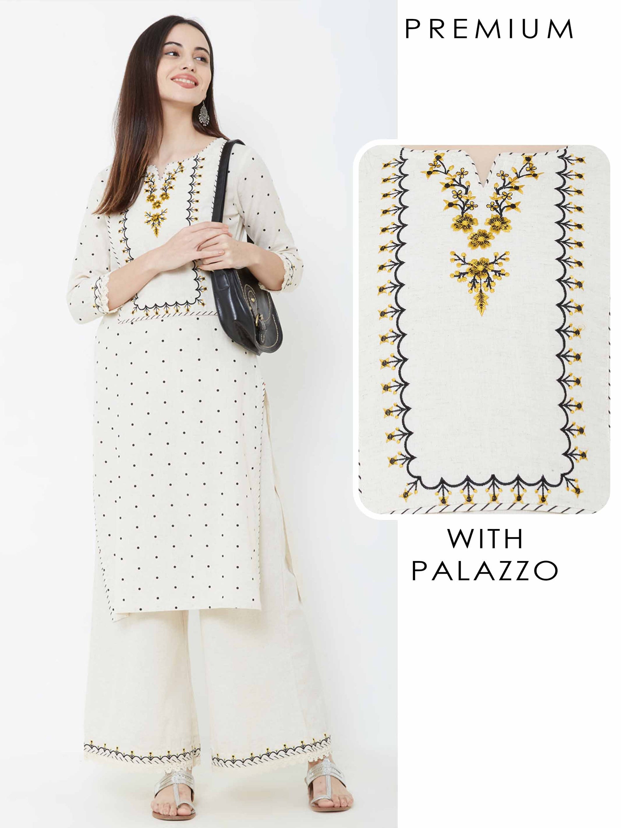 Polka Printed Floral Embroidered Kurta with Palazzo – Off-White