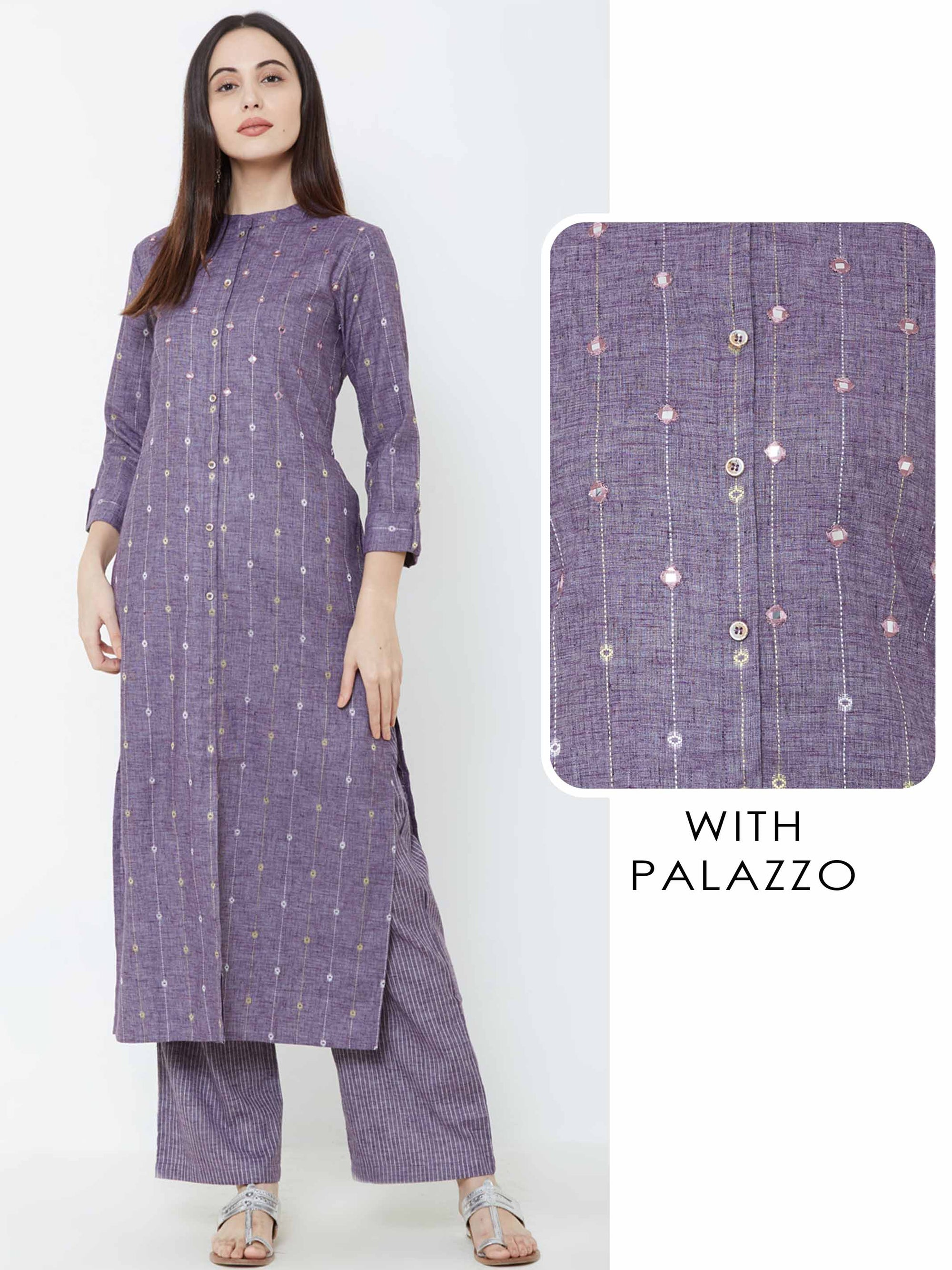 Chalk Striped & Mirror Embroidered Kurta with Pin Striped Palazzo – Purple