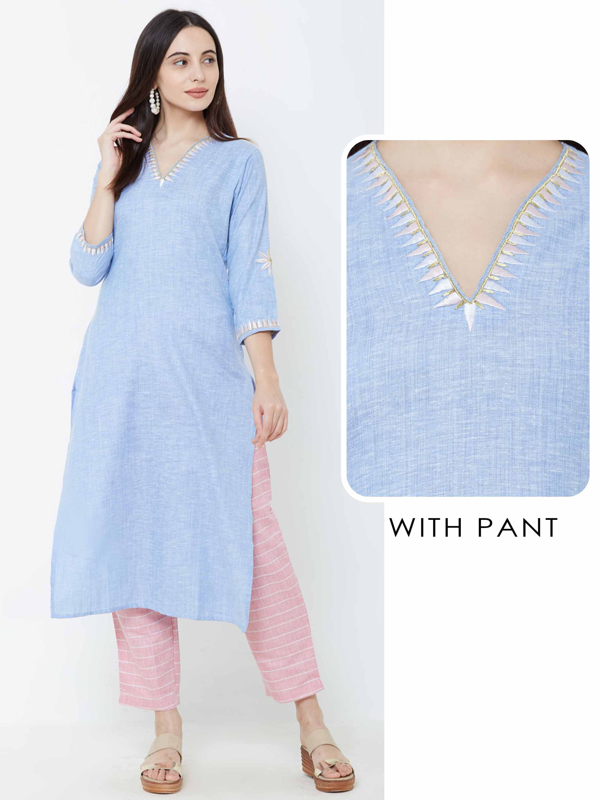 Minimal Floral Embroidered Kurta with Horizontal Striped Pant – Powder Blue