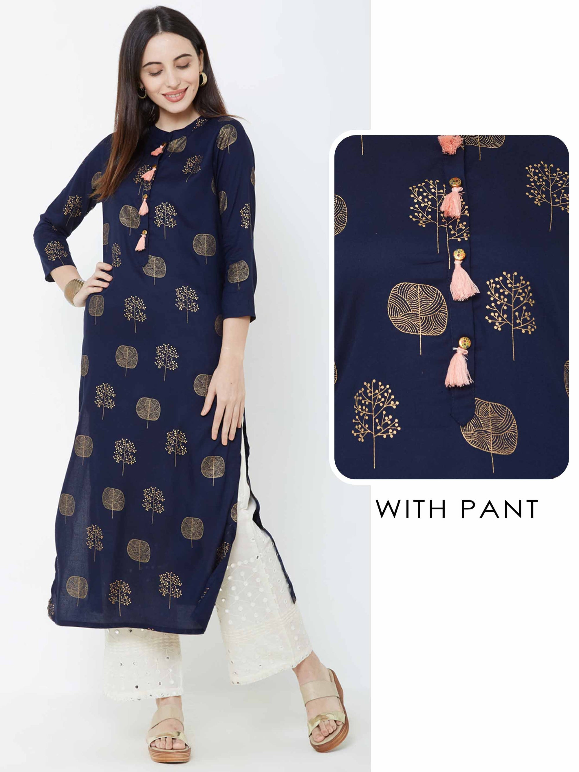 Abstract Foil Tree Printed Kurta with Schiffli Embroidered Pant – Navy Blue