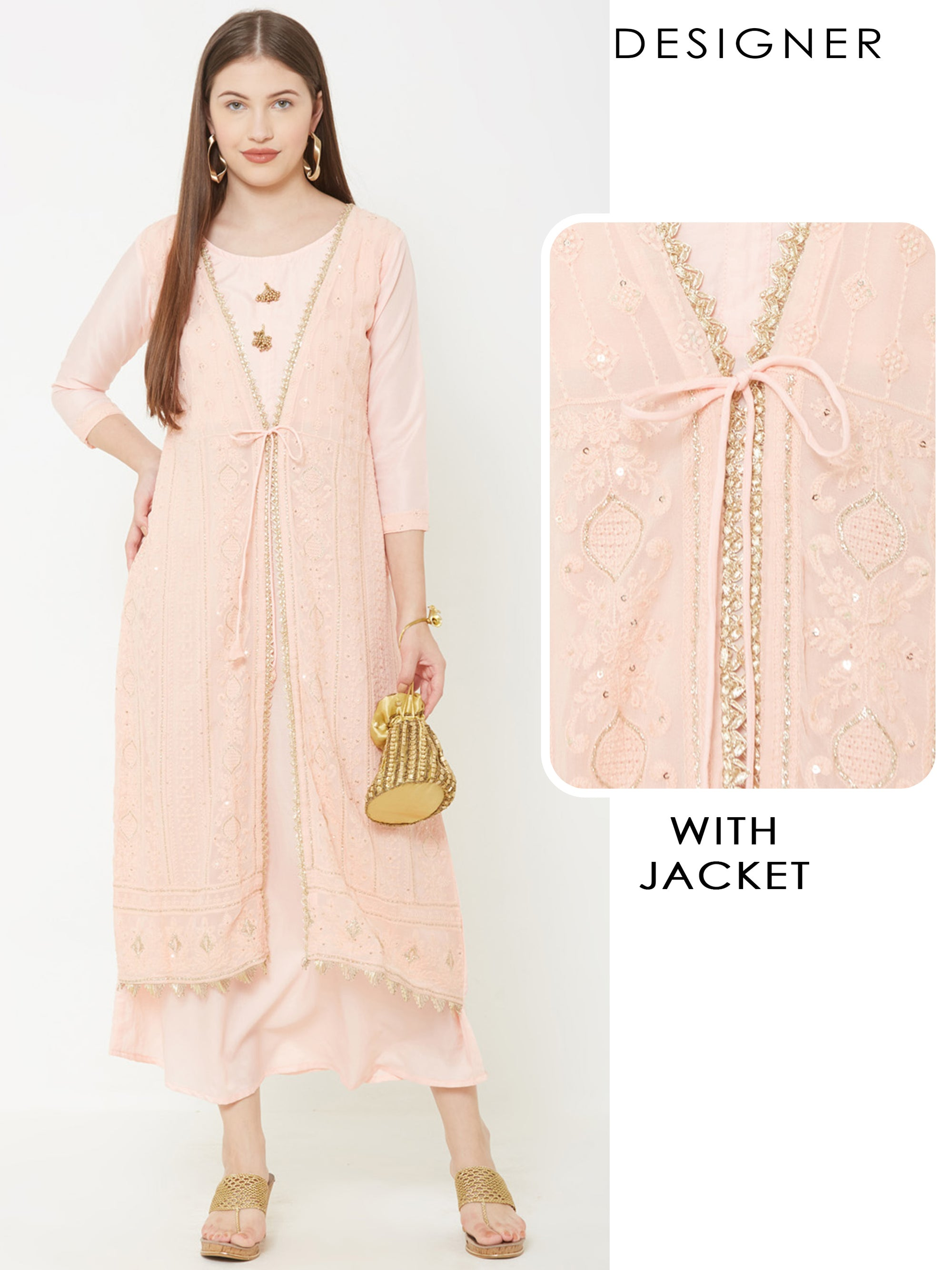 Solid Maxi Attached with embroidered Jacket – Peach