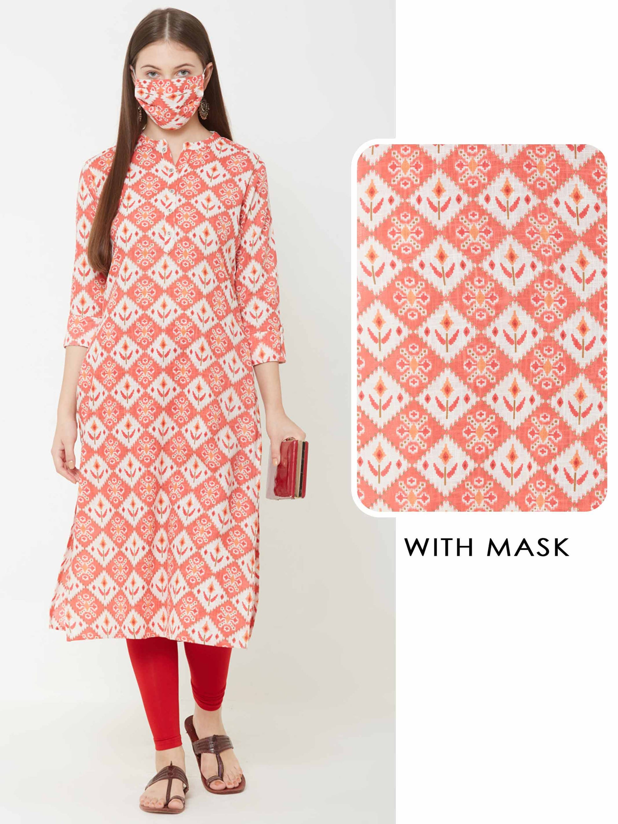 Patola Printed Kurta with Matching Mask – Orange