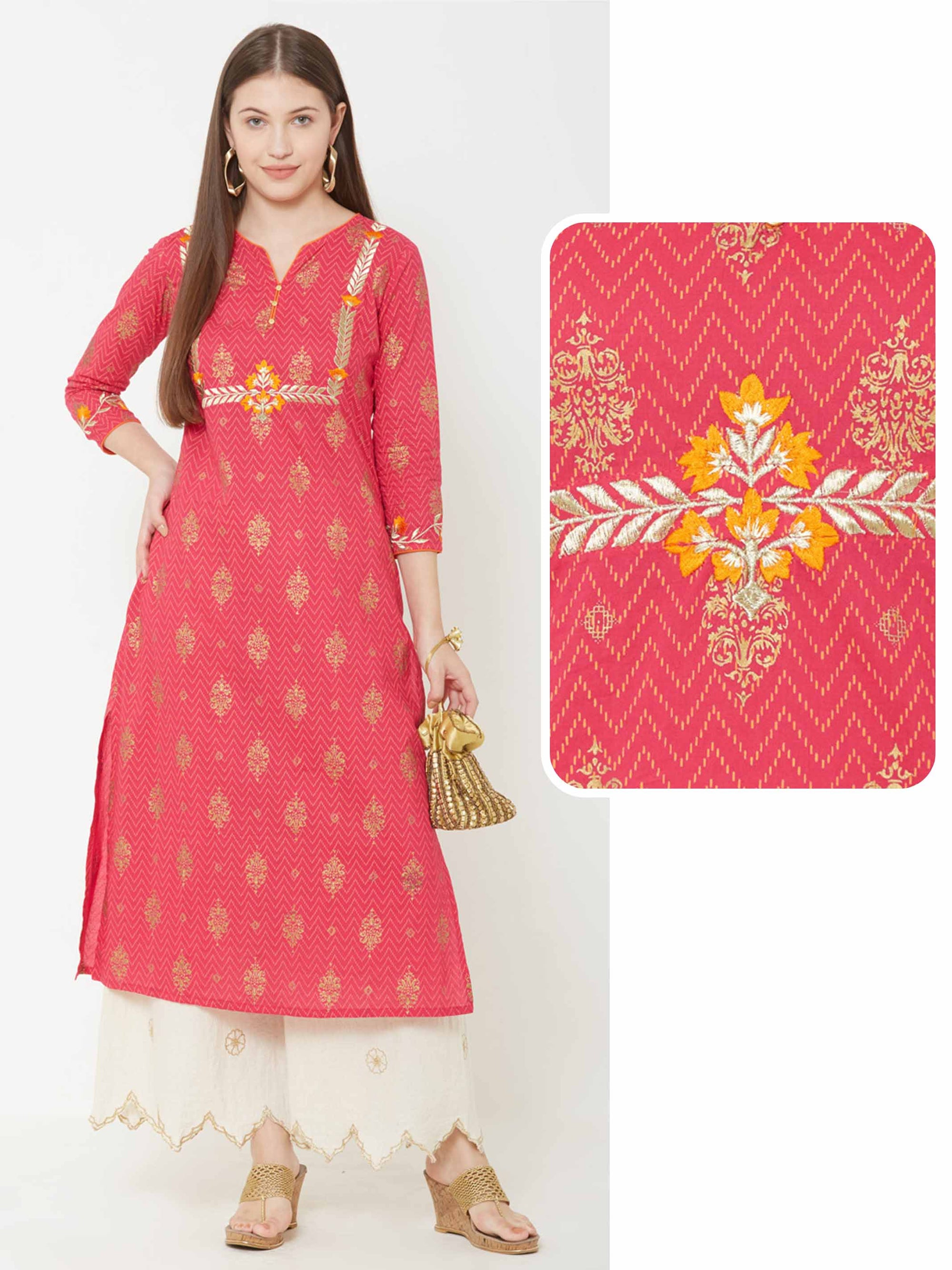 Ethnic Foil Printed & Zari Embroidered Kurta – Pink
