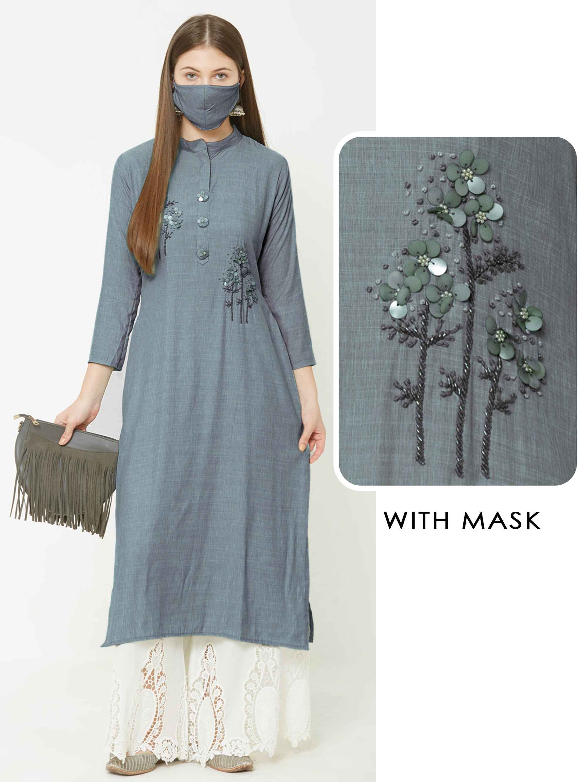 Sequins & Cutdana Embellished Kurta with Matching Mask – Powder Blue