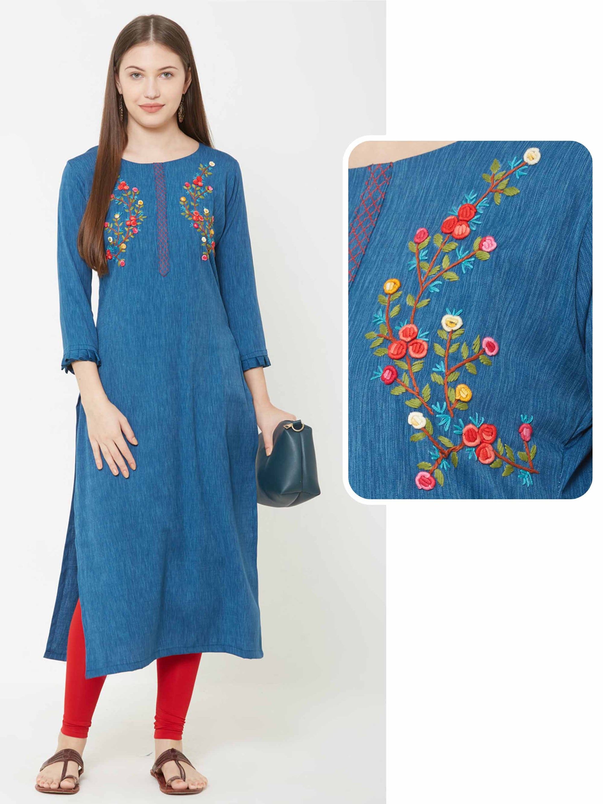 Bullion Knot Floral Embroidered Kurta – Teal Blue