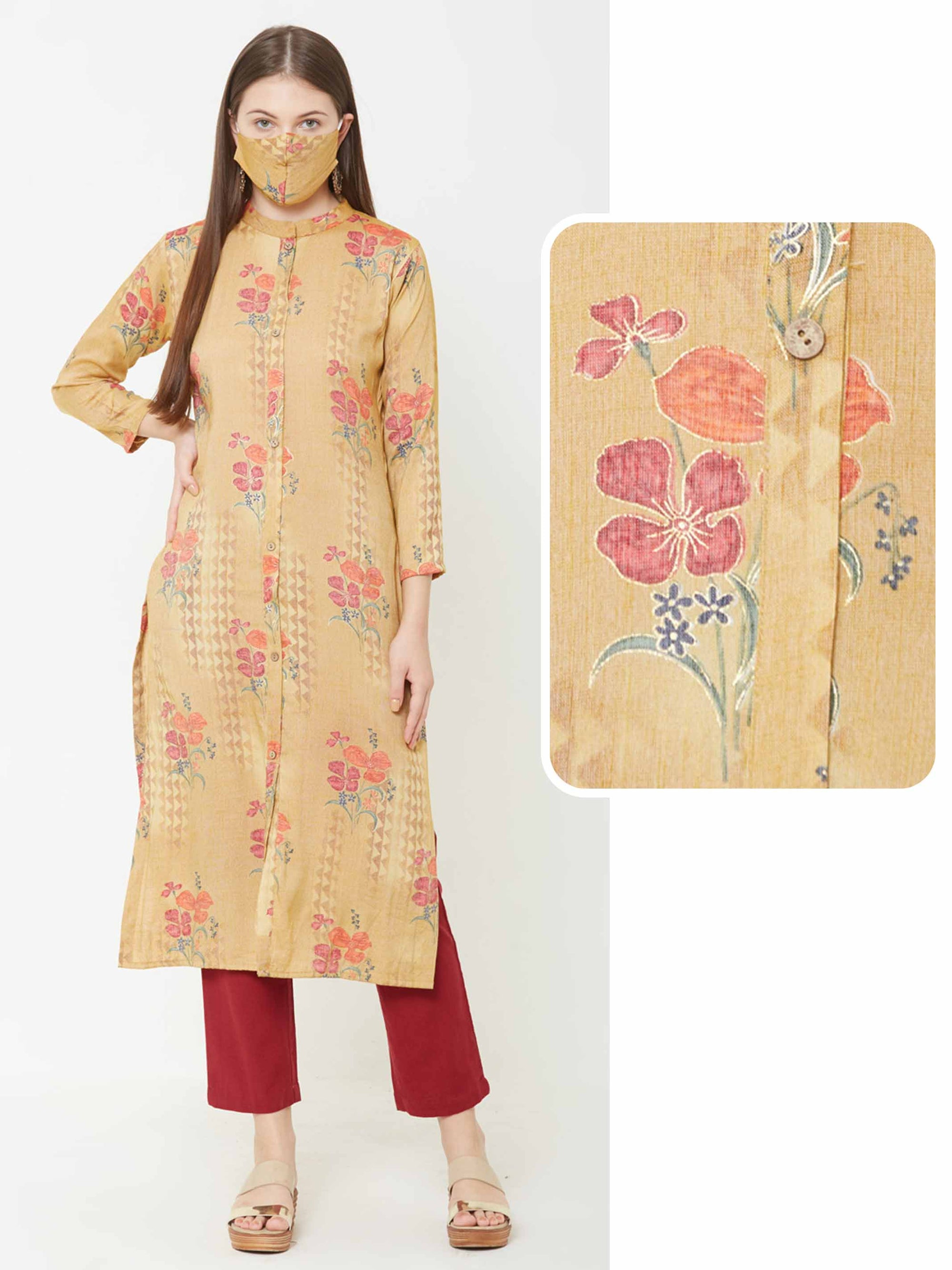 Floral & Geometric Printed Kurta with Matching Mask – Mustard