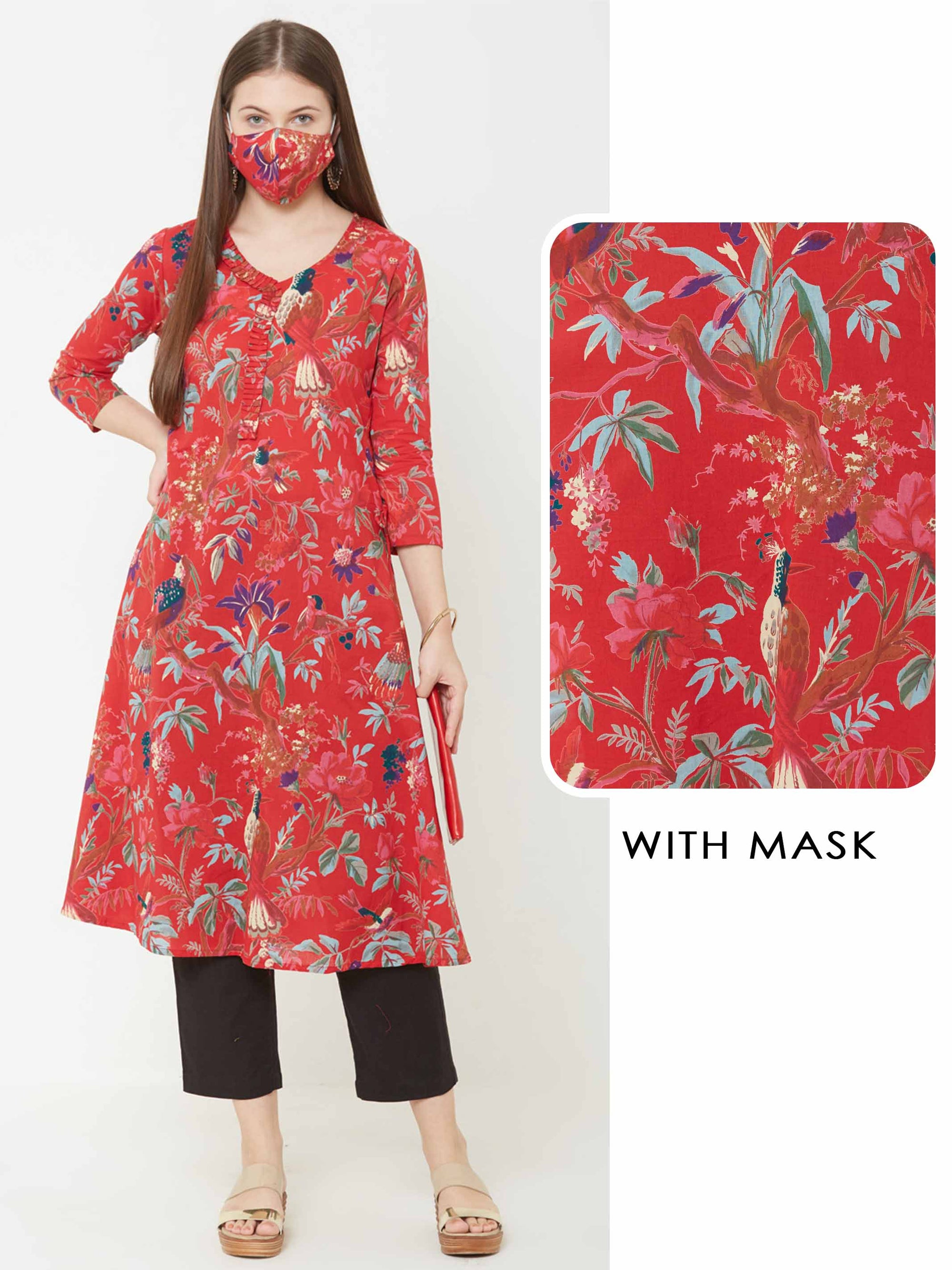 Floral Printed A-Line Kurta with Matching Mask – Red