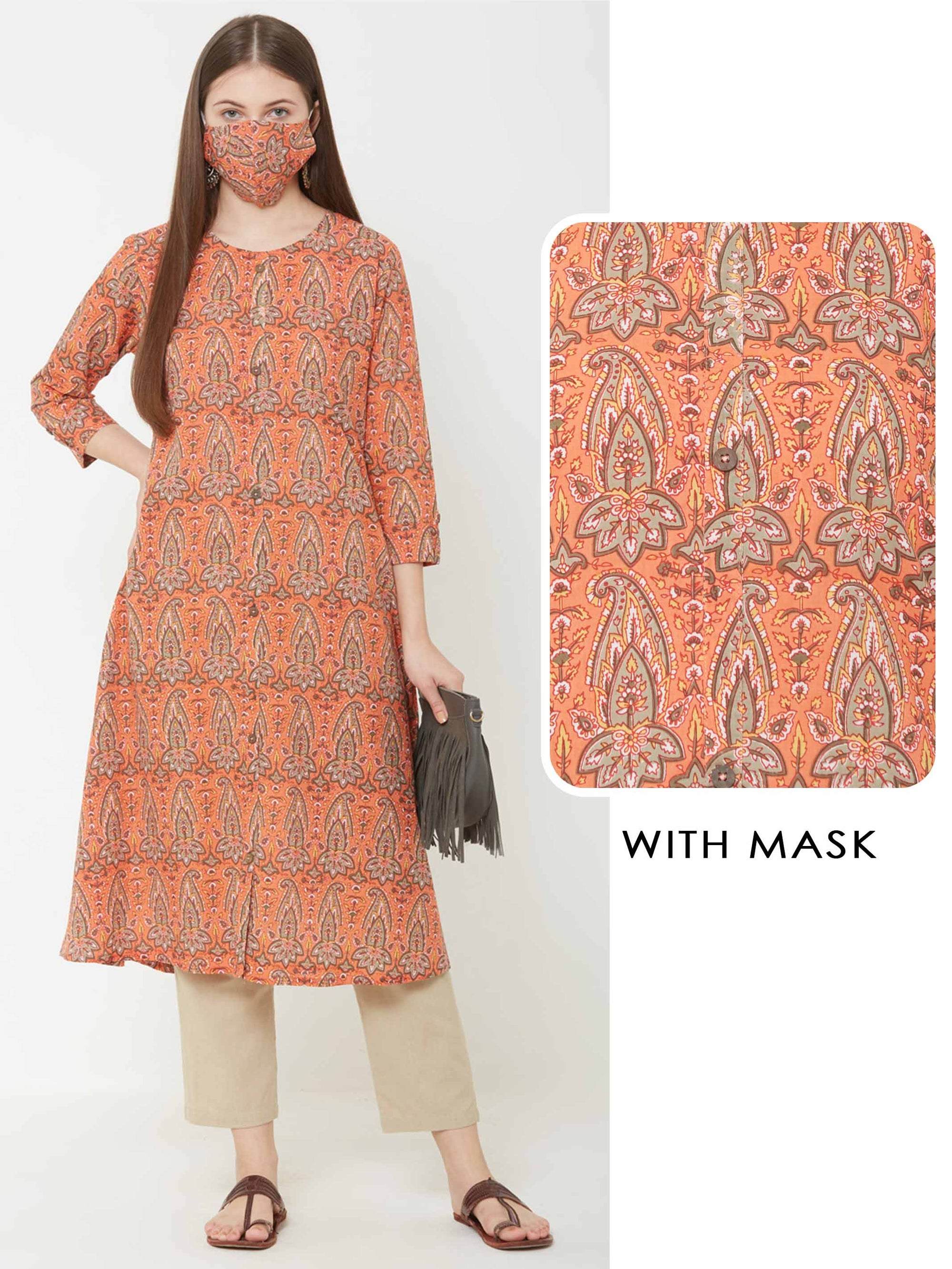 Ethnic Printed A-Line Kurta with Matching Mask – Orange