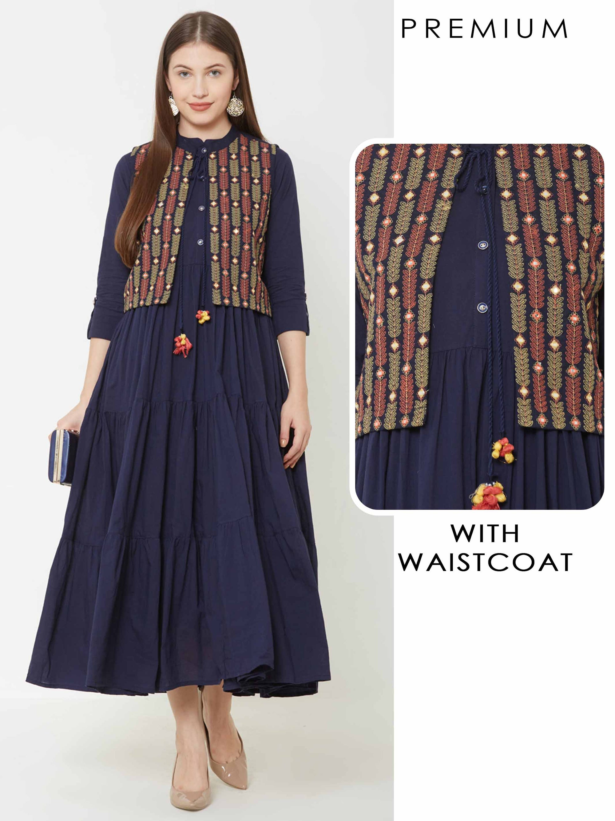 Solid Tiered Maxi with Vibrant Leaf Embroidered Waistcoat – Navy Blue