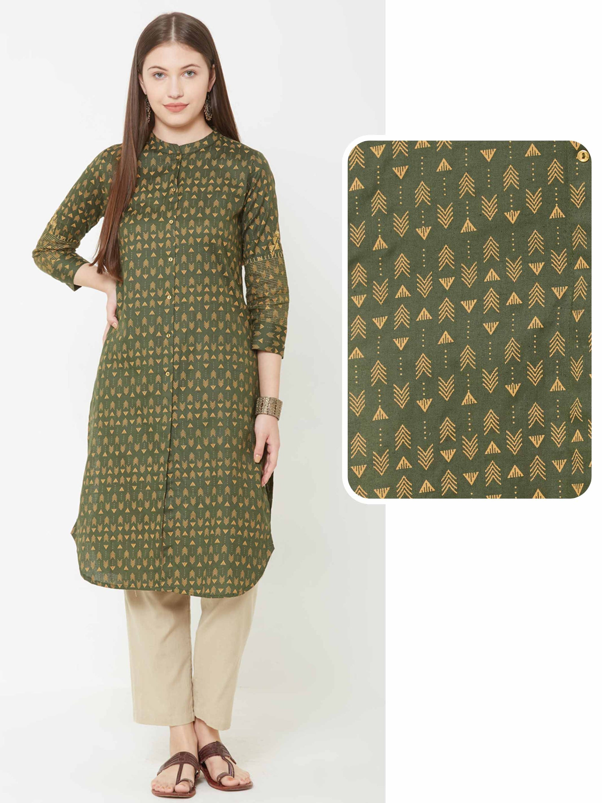 Minimal Arrow Printed Kurta – Army Green