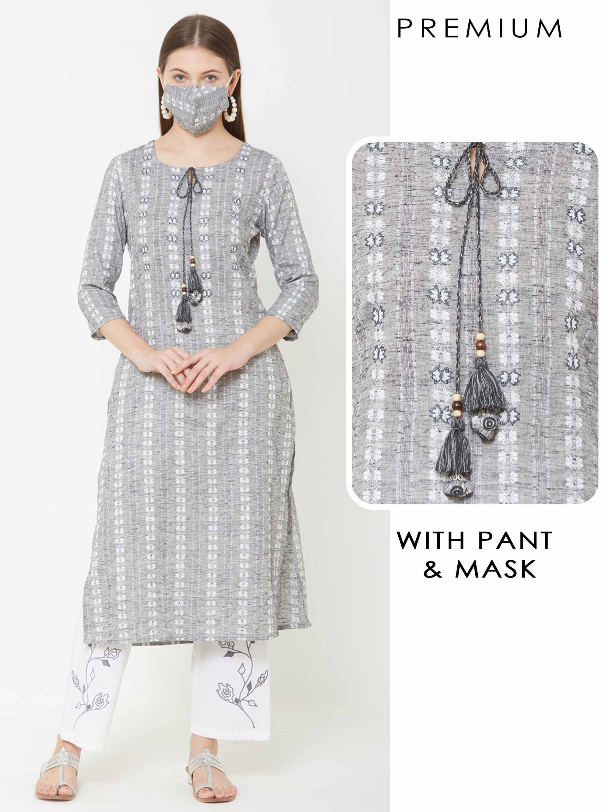 Vertical Striped Kurta & Floral Embroidered Pant with Matching Mask – Grey