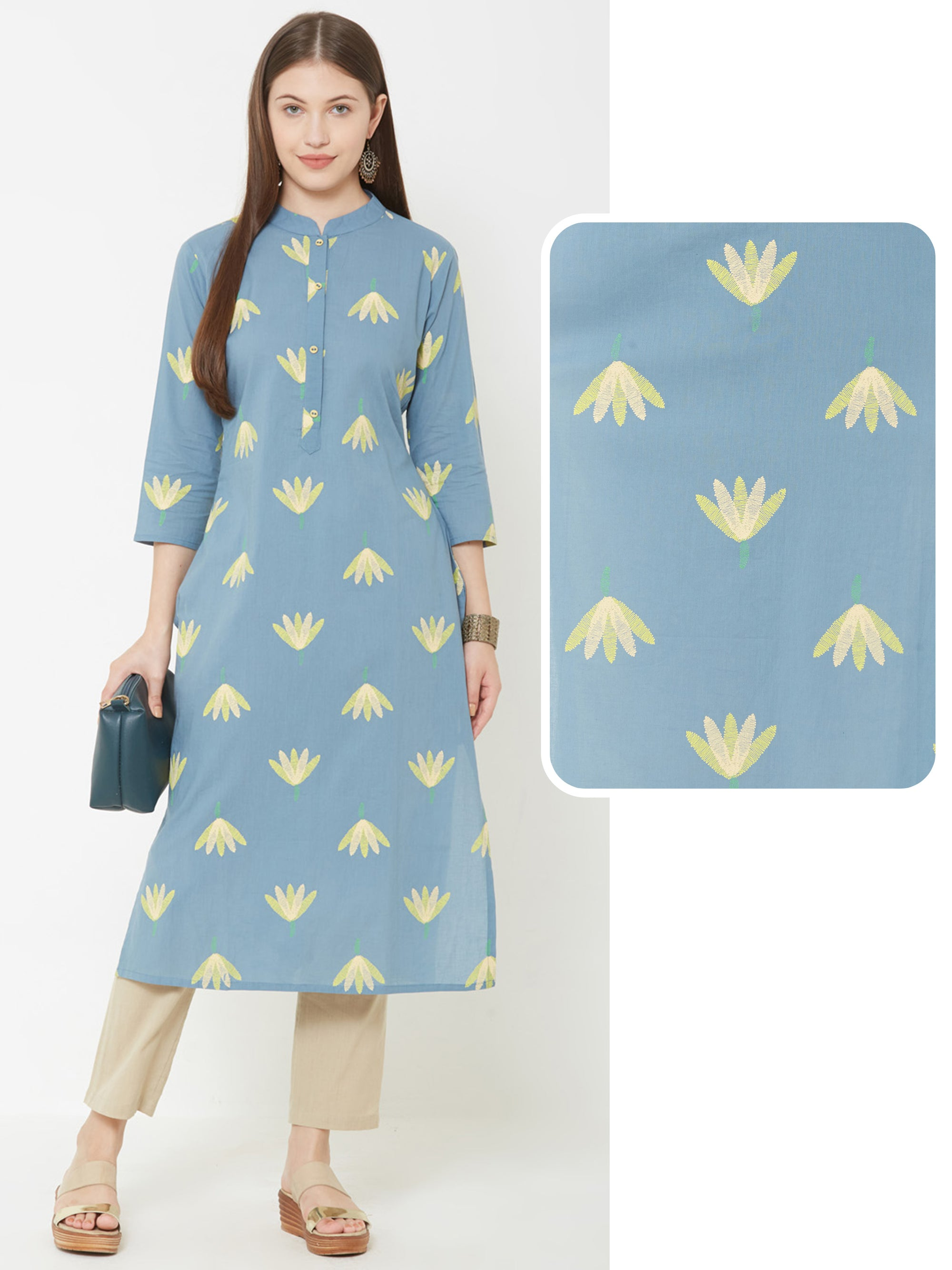 Abstract Floral Embroidered Kurta – Powder blue