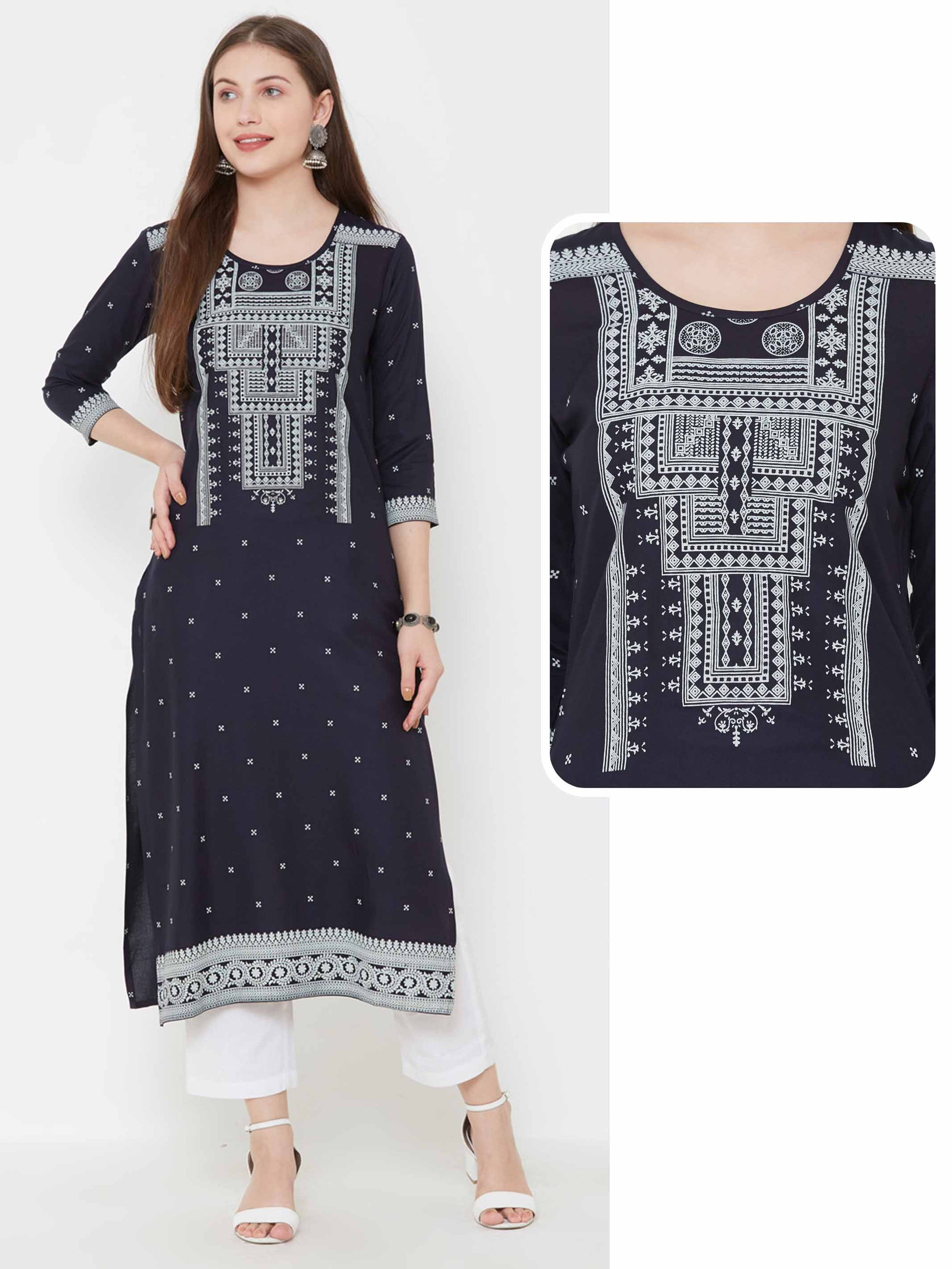 Minimal Buta & Mixed Printed Kurta – Navy Blue