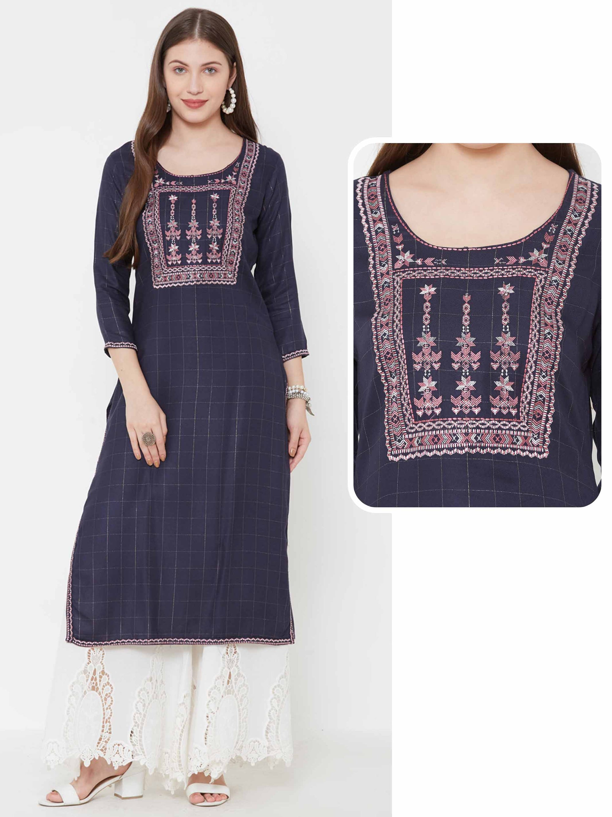 Abstract Tribal Embroidered & Pin checkered Kurta – Navy Blue