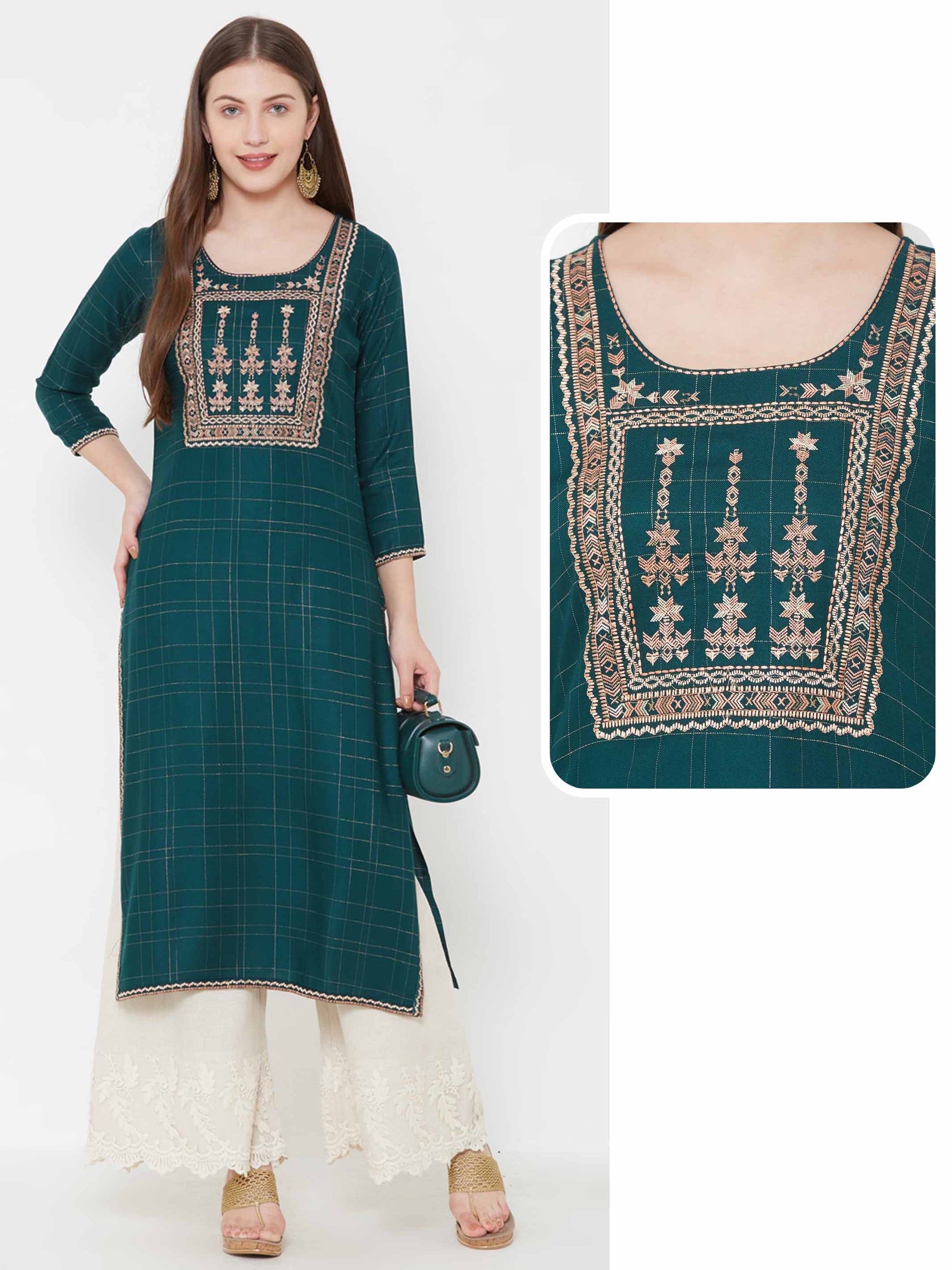 Abstract Tribal Embroidered & Pin checkered Kurta – Teal Green