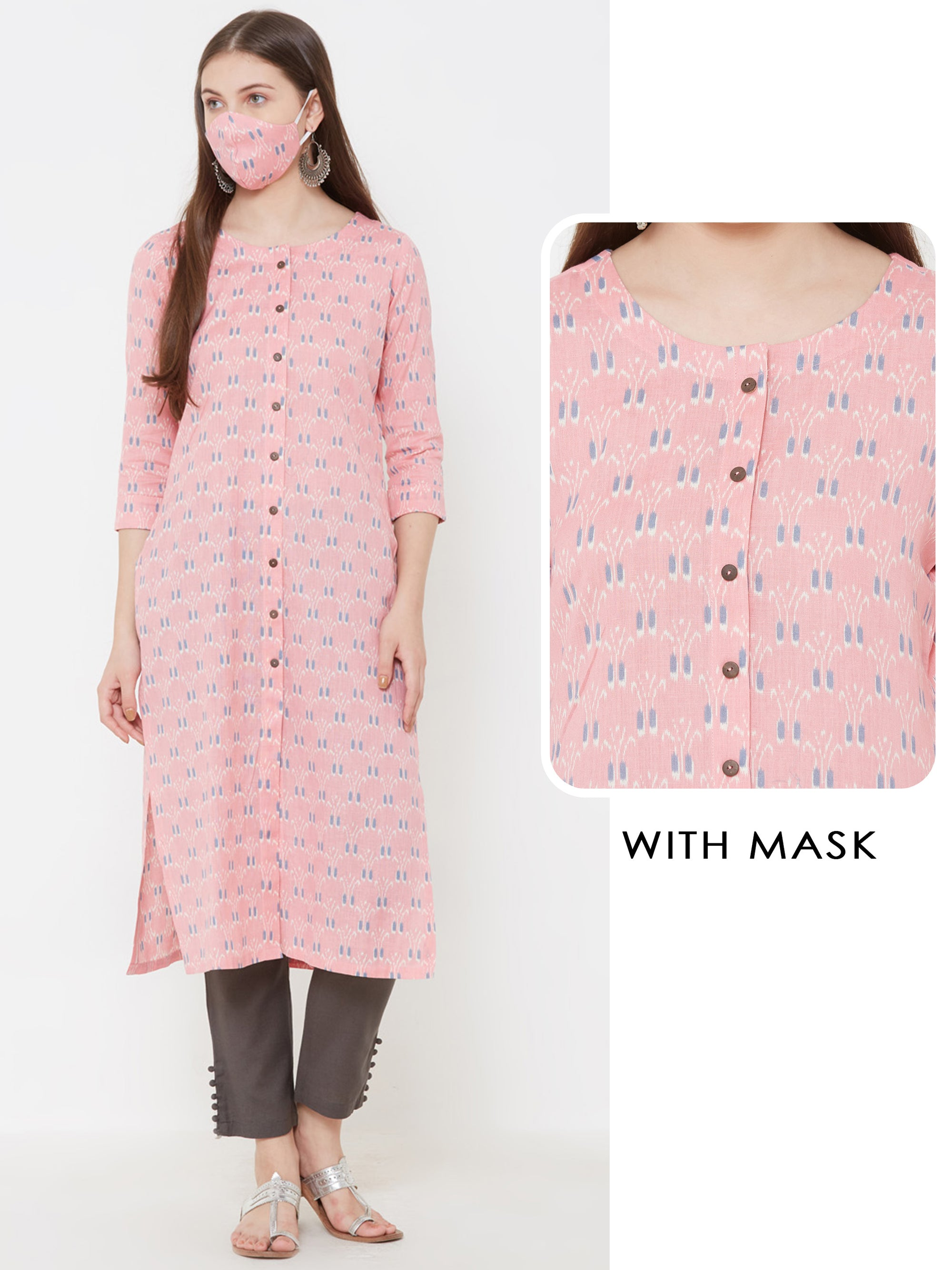 Abstract Lady Bug Printed Kurta with Matching Mask – Pink