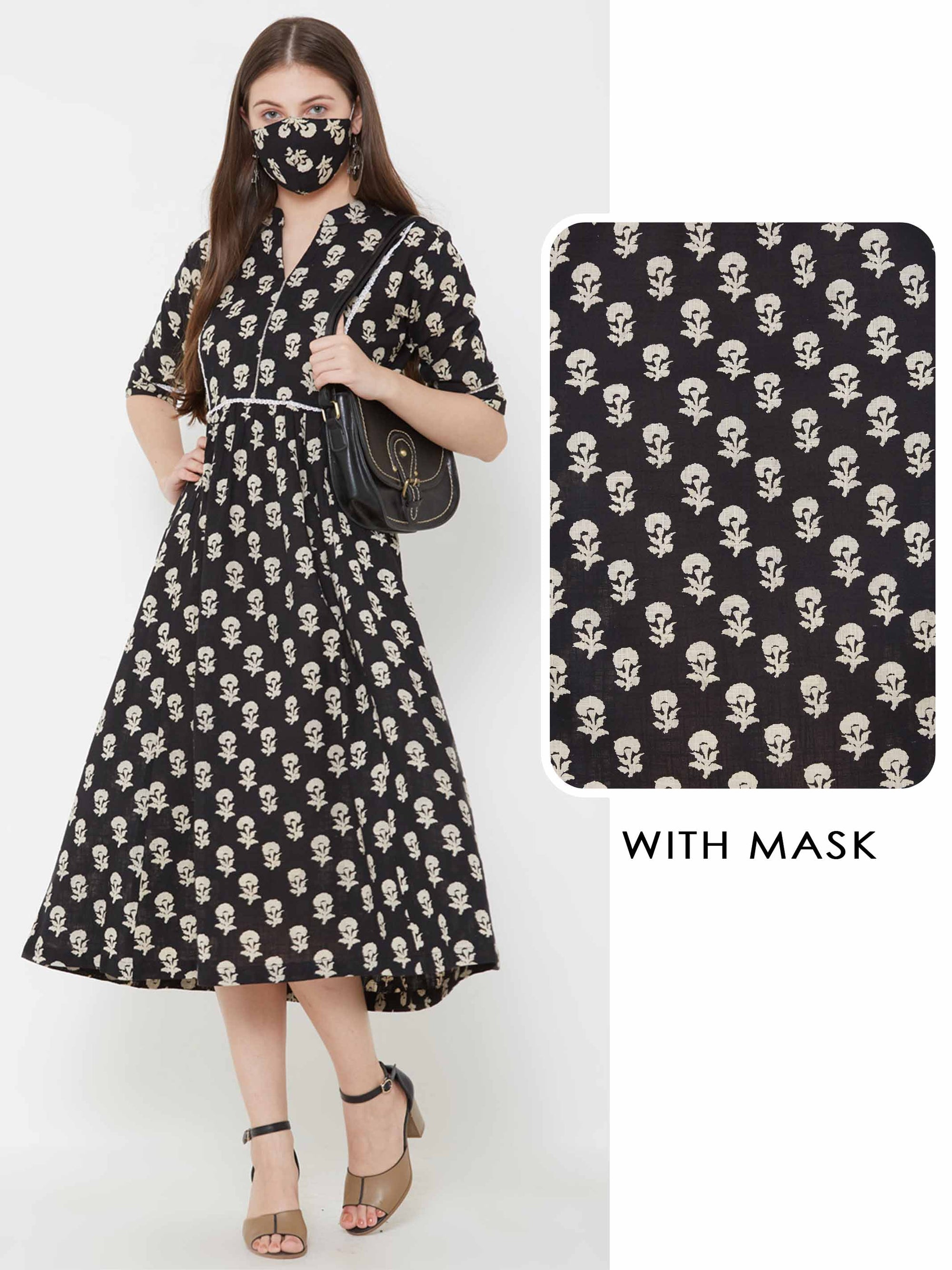 Floral Printed Pleated Maxi with Matching Mask – Black