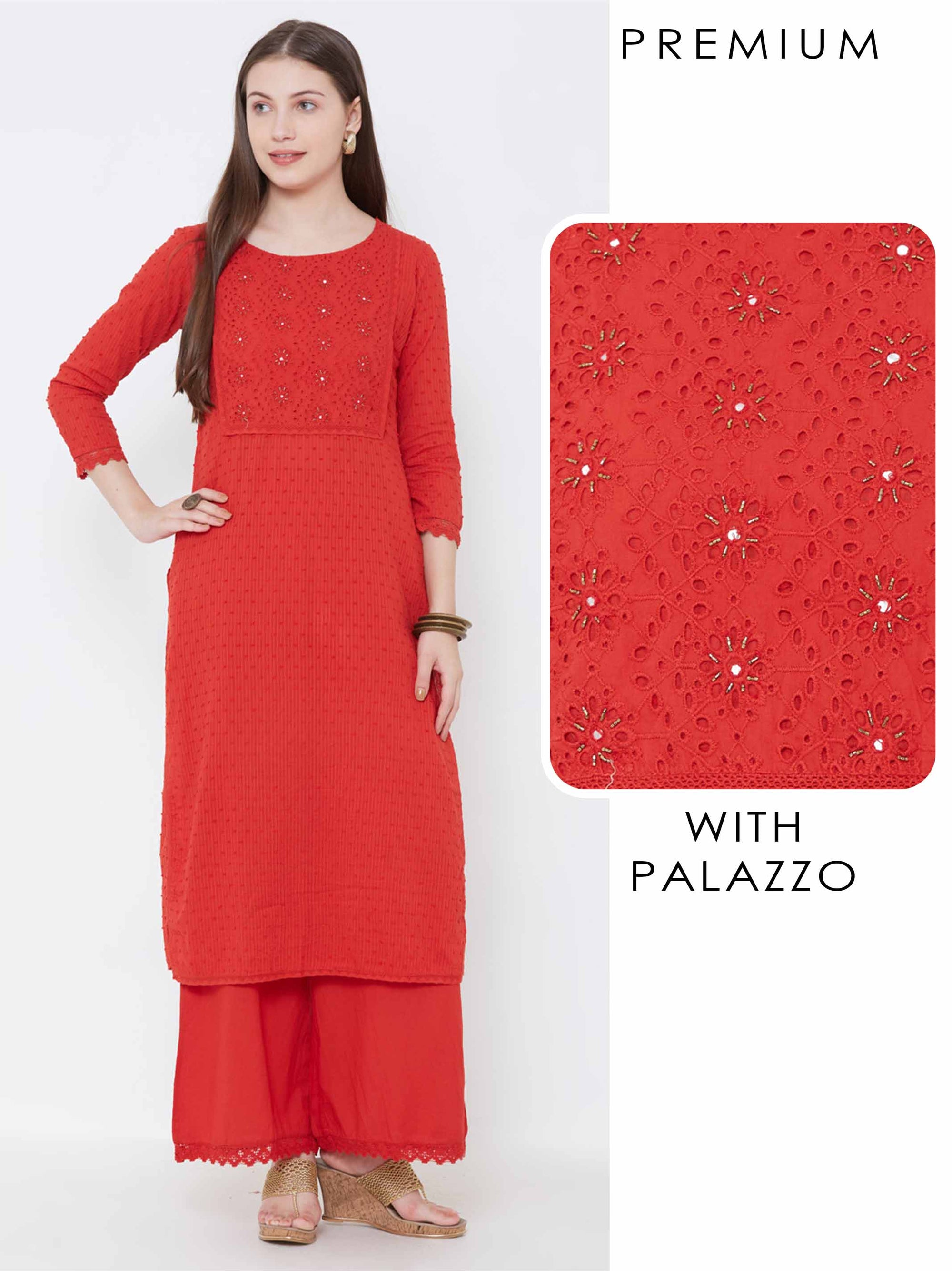 Schiffli Embroidered Cutdana Kurta with Palazzo – Red