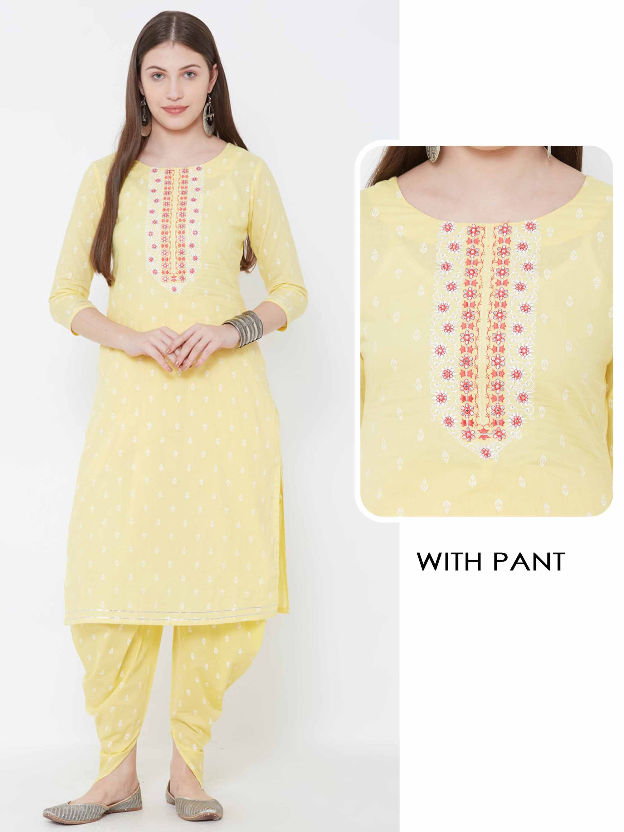 Floral Embroidered Ethnic Kurta with Dhoti Pant – Yellow