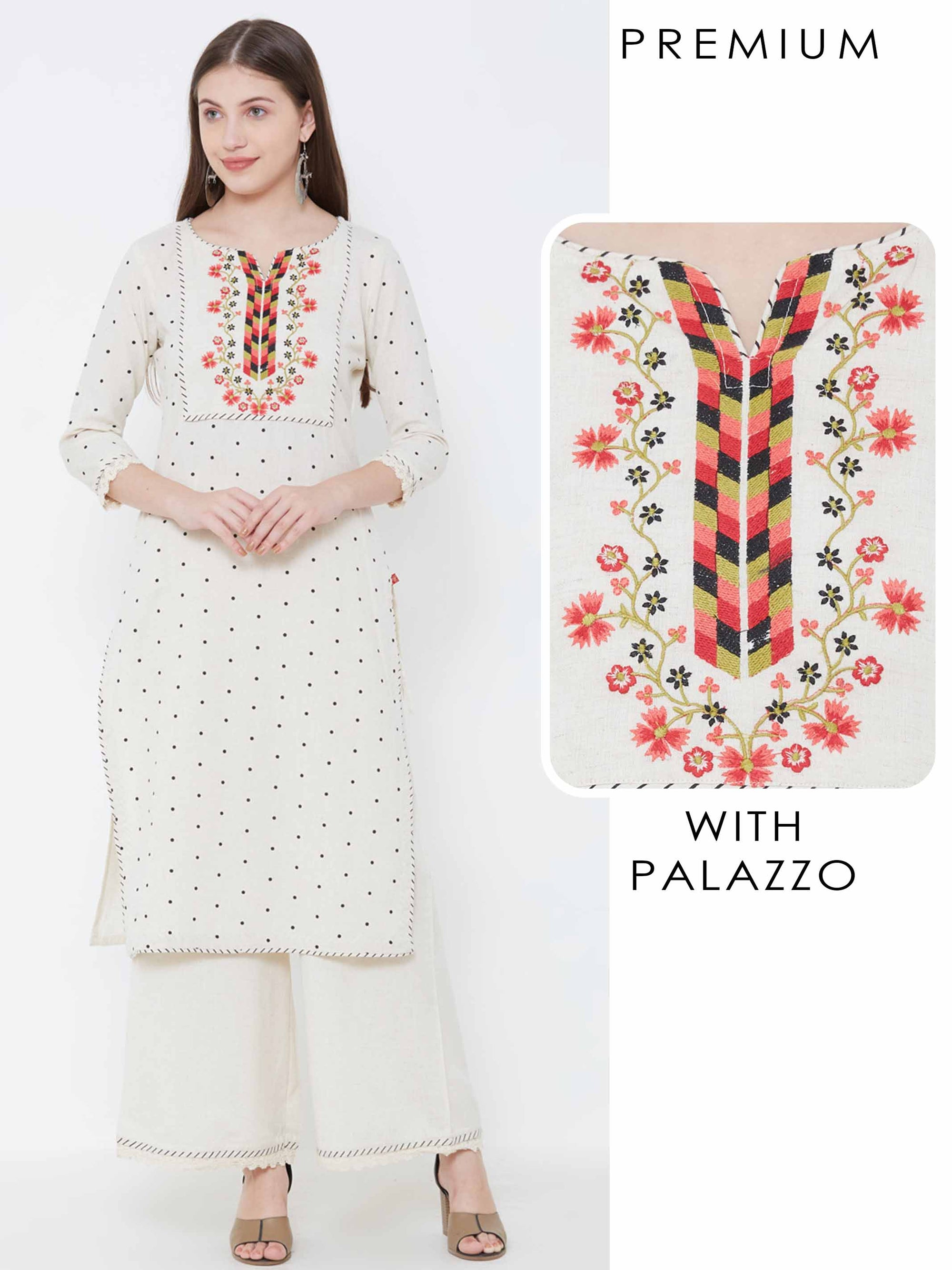 Floral Embroidered Kurta & Solid Palazzo – Off-White