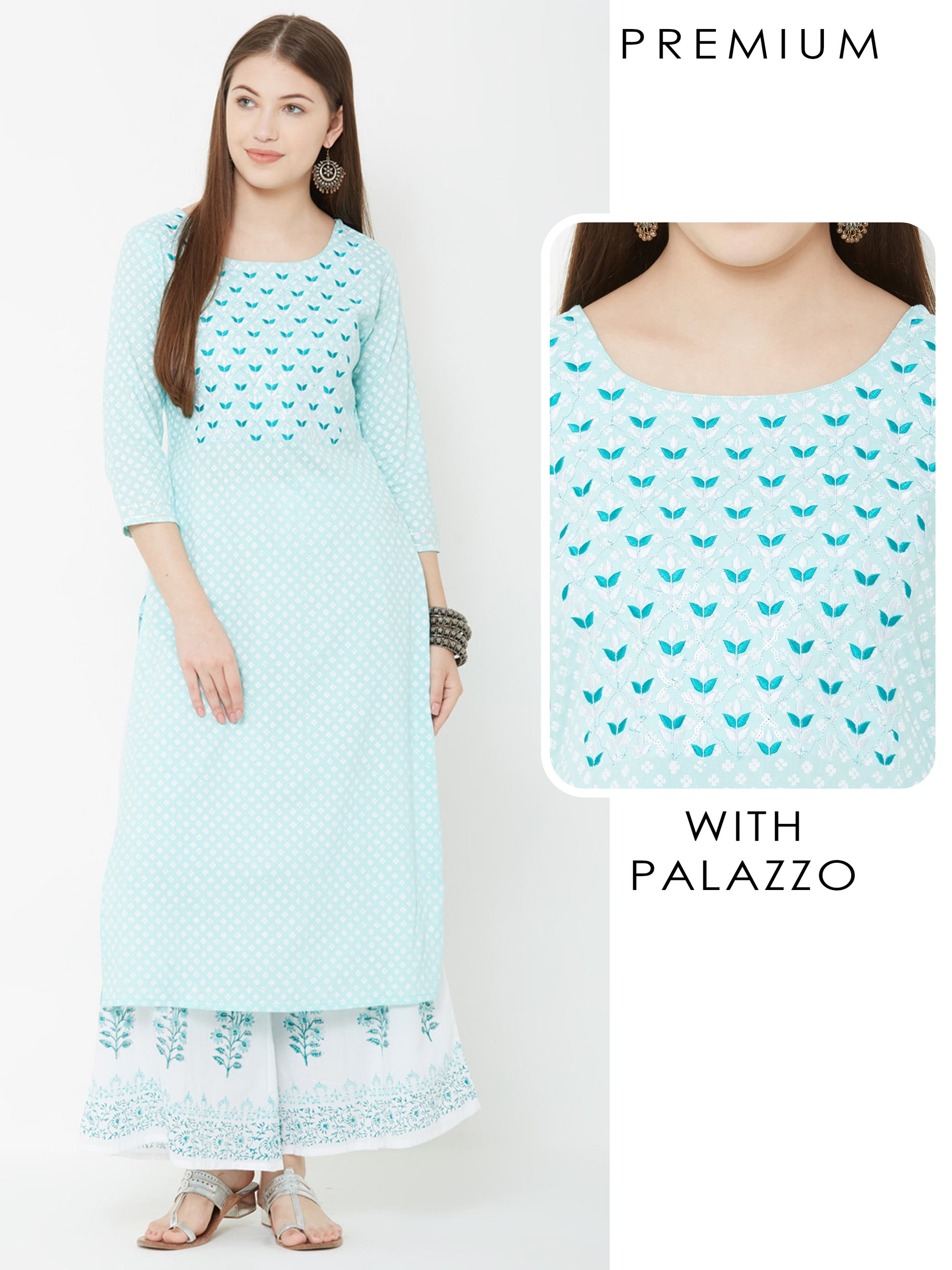 Floral Embroidered Kurta & Floral printed Palazzo – Teal