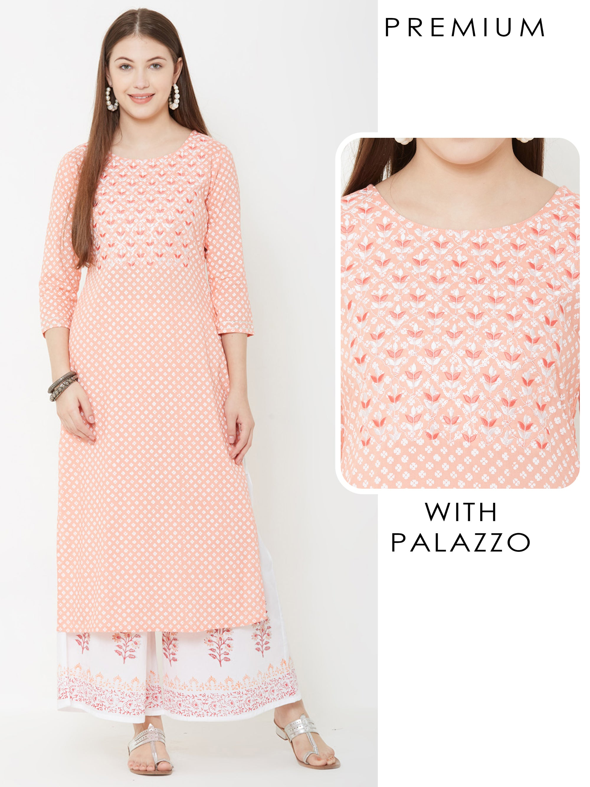 Floral Embroidered Kurta & Floral printed Palazzo – Peach