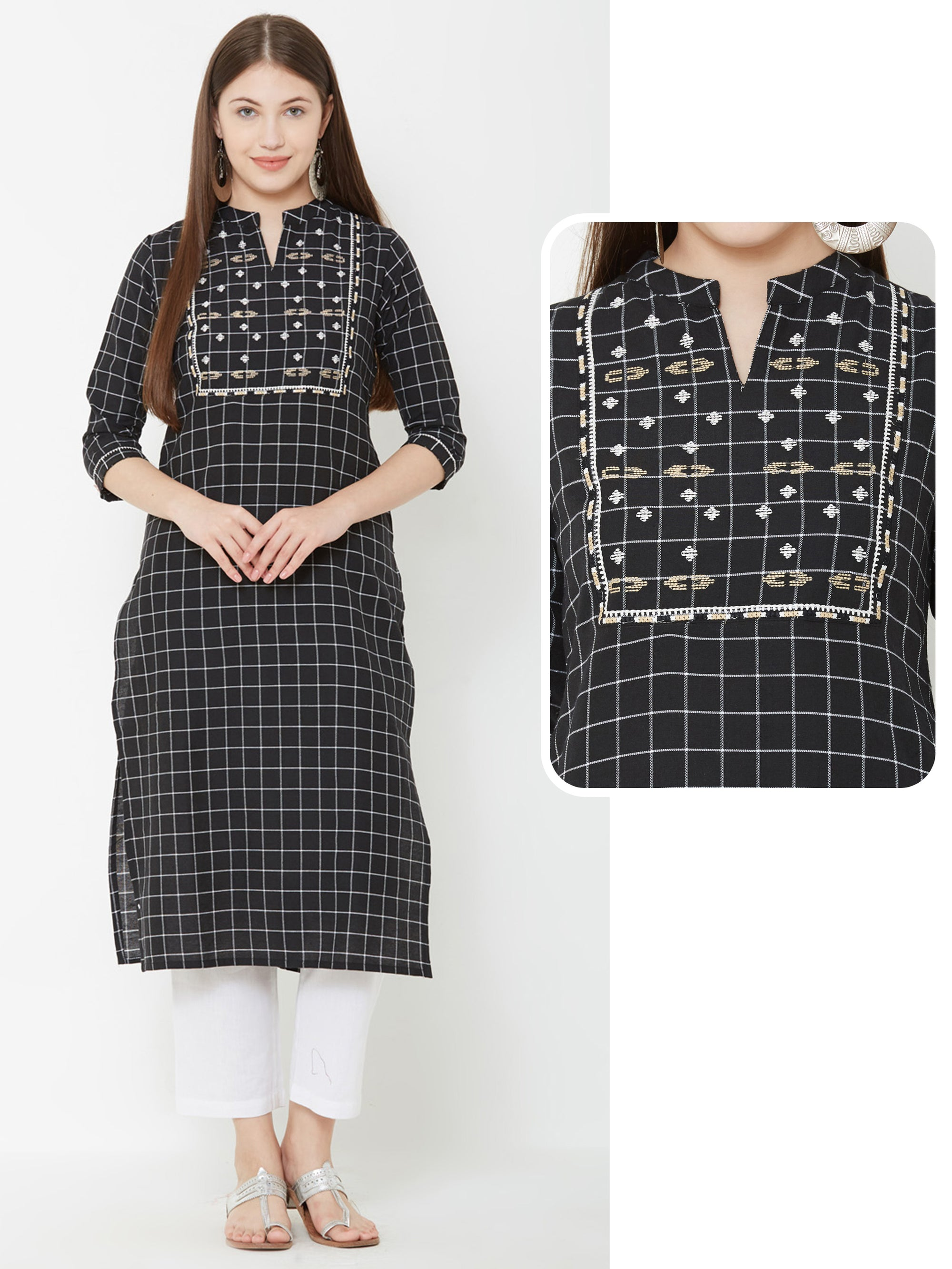 Checkered Printed Kurta With Abstract Embroidery - Black