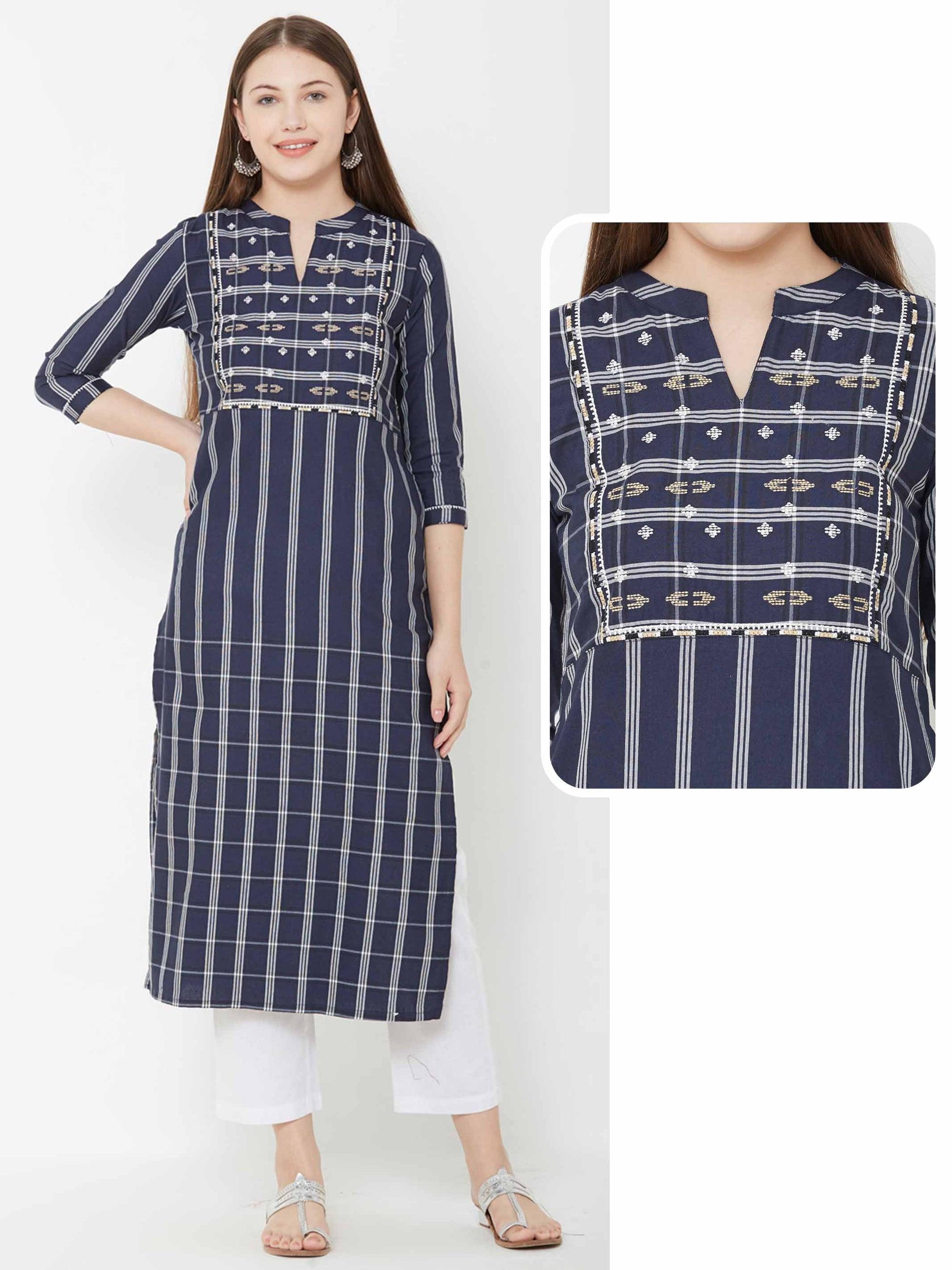Striped Printed Kurta With Abstract Embroidery – Blue
