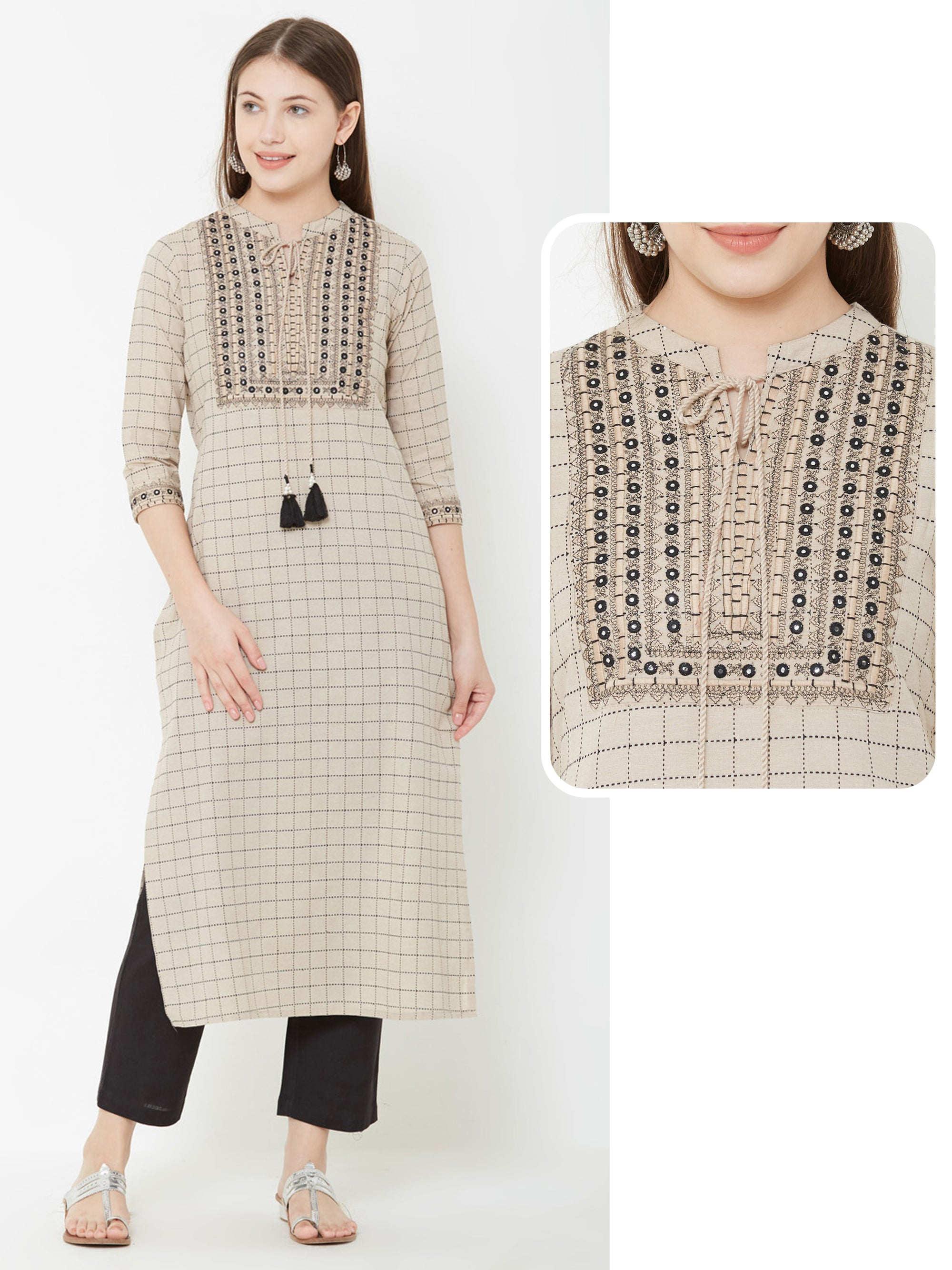 Checkered Printed Kurta With Foil Mirror Work and Drawstring Tie Up – Beige