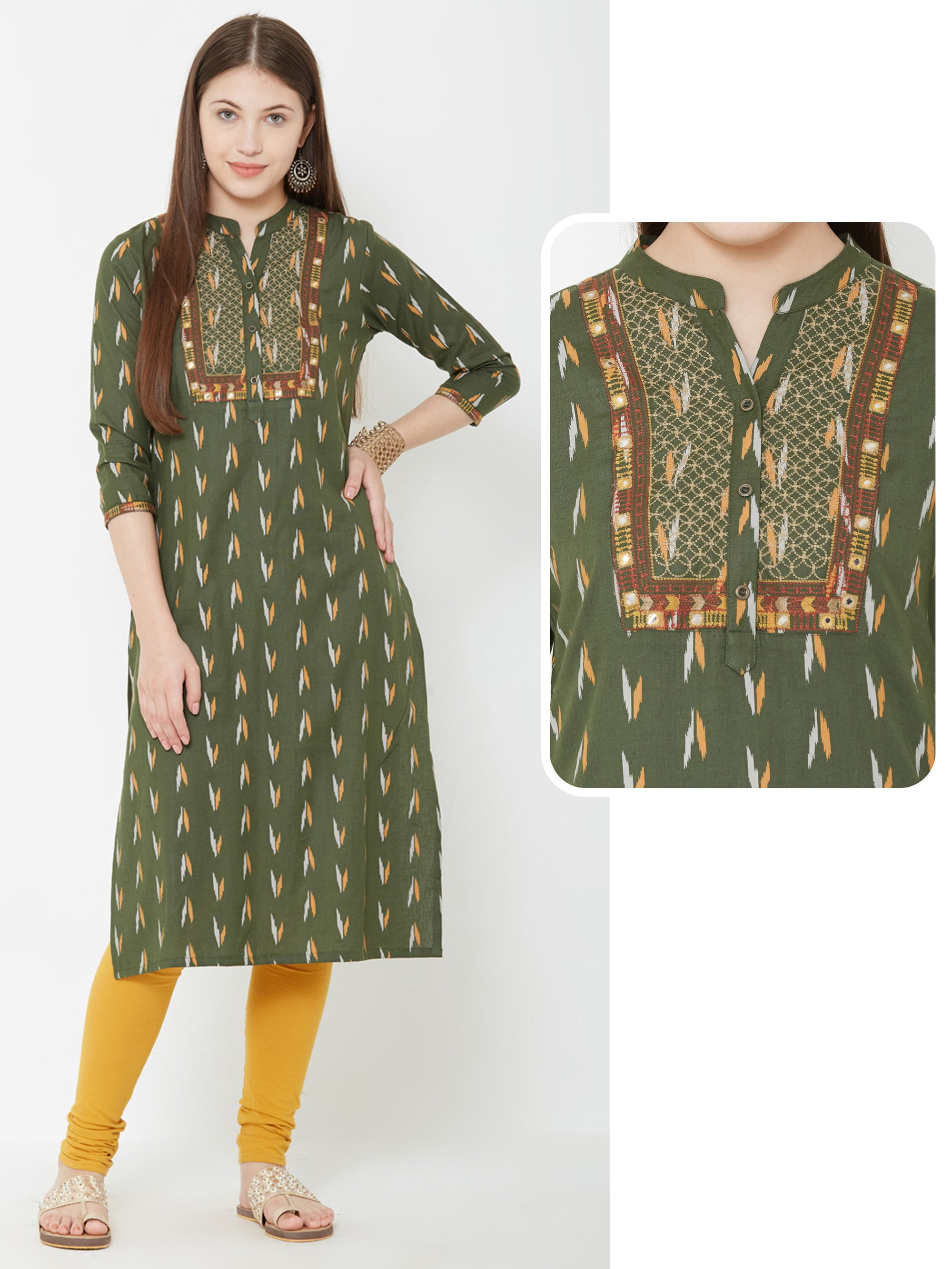 Ikkat Printed Kurta With Foil Mirror Work - Green