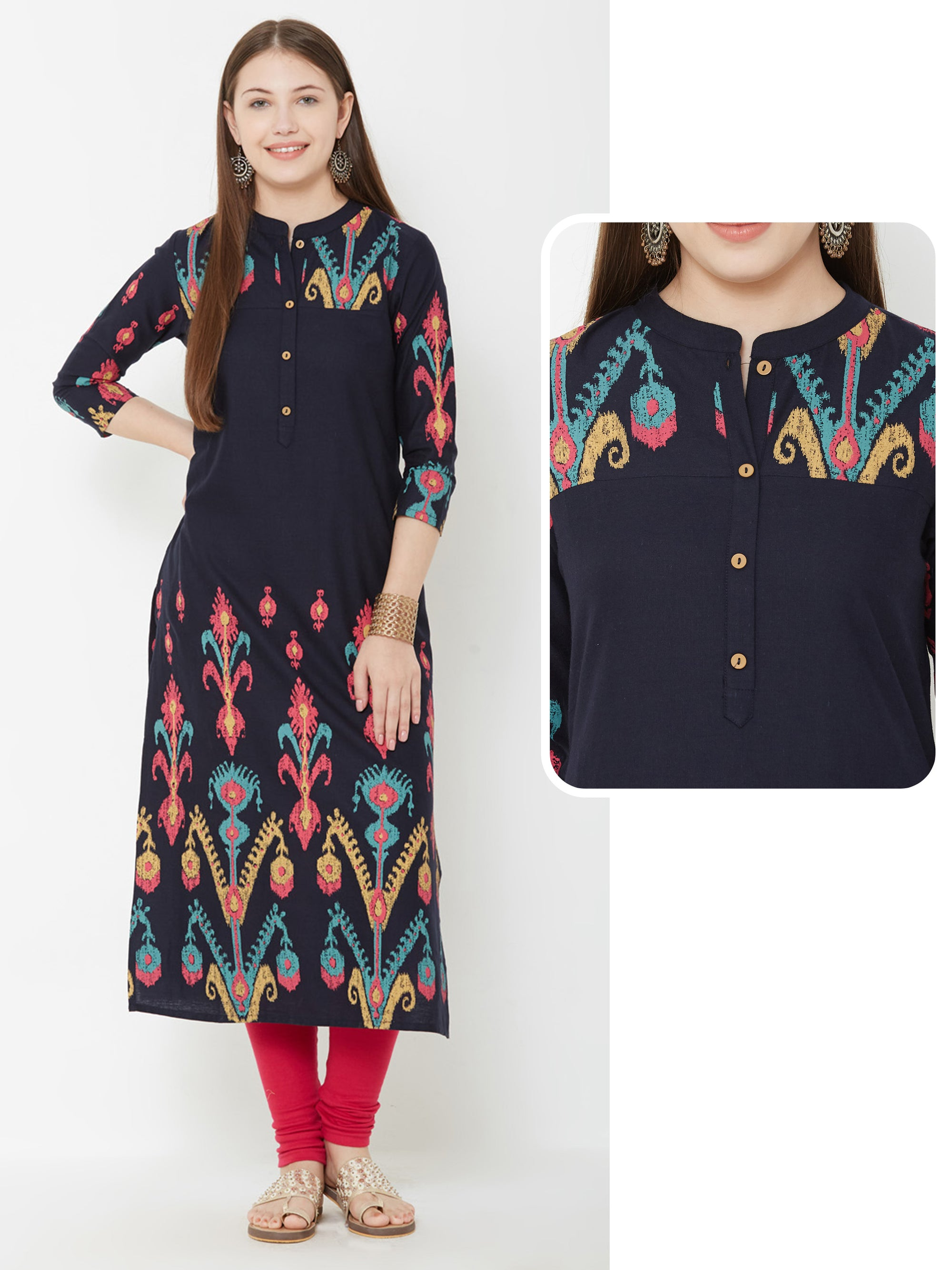 Colourful Art Printed Kurta – Navy Blue