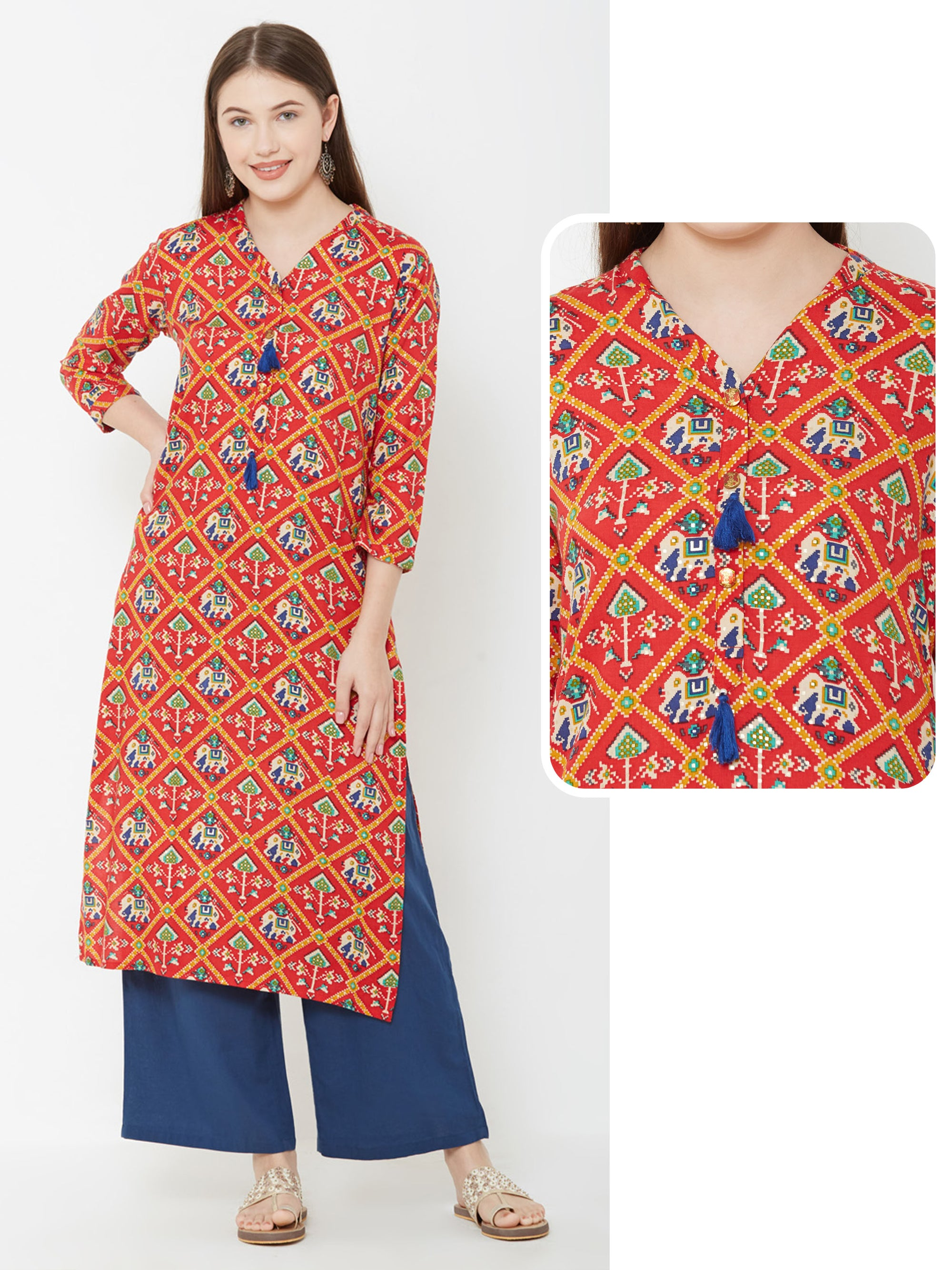 Patola Printed Kurta With Tassels – Red