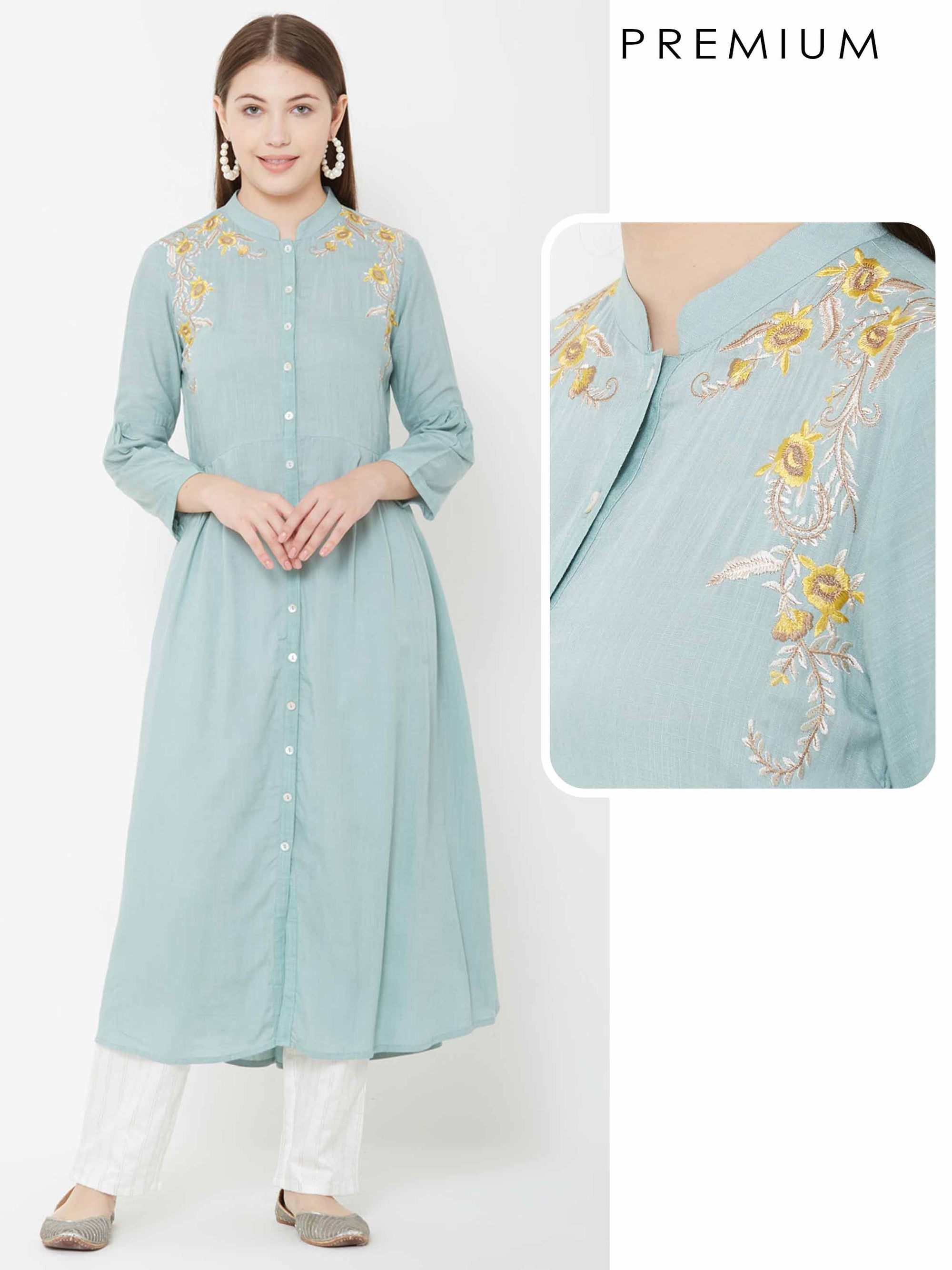 Floral Embroidered A Line kurta – Powder Blue